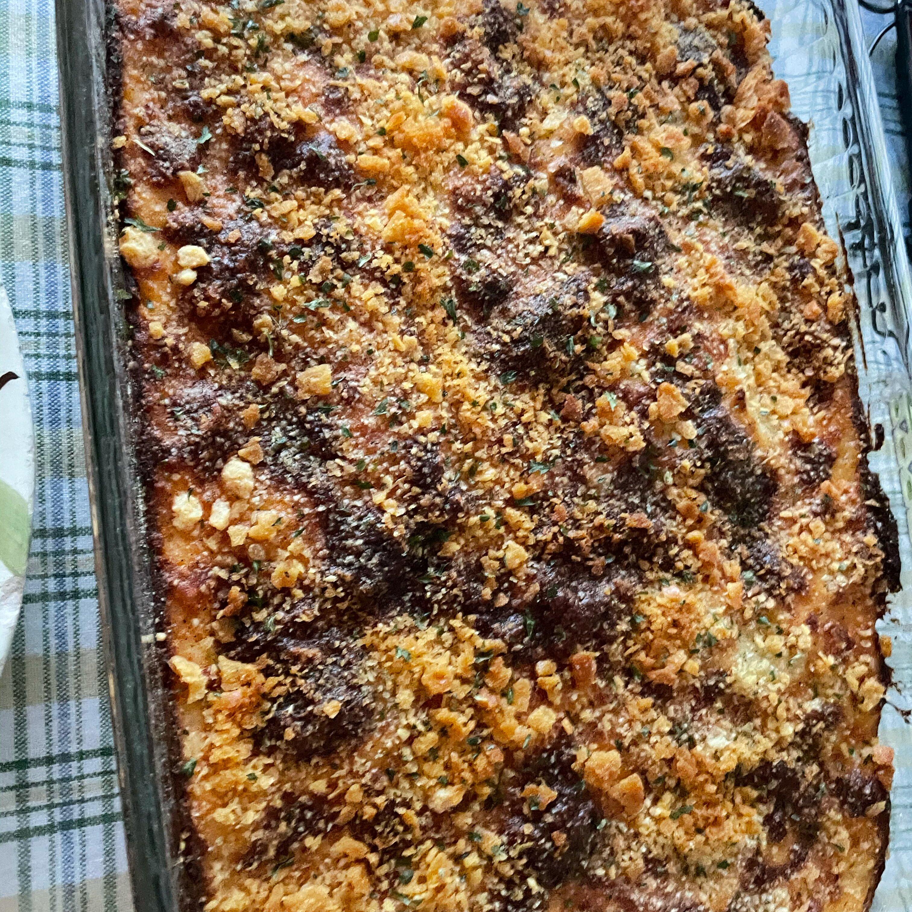 parmesan crusted au gratin potatoes and onion recipe