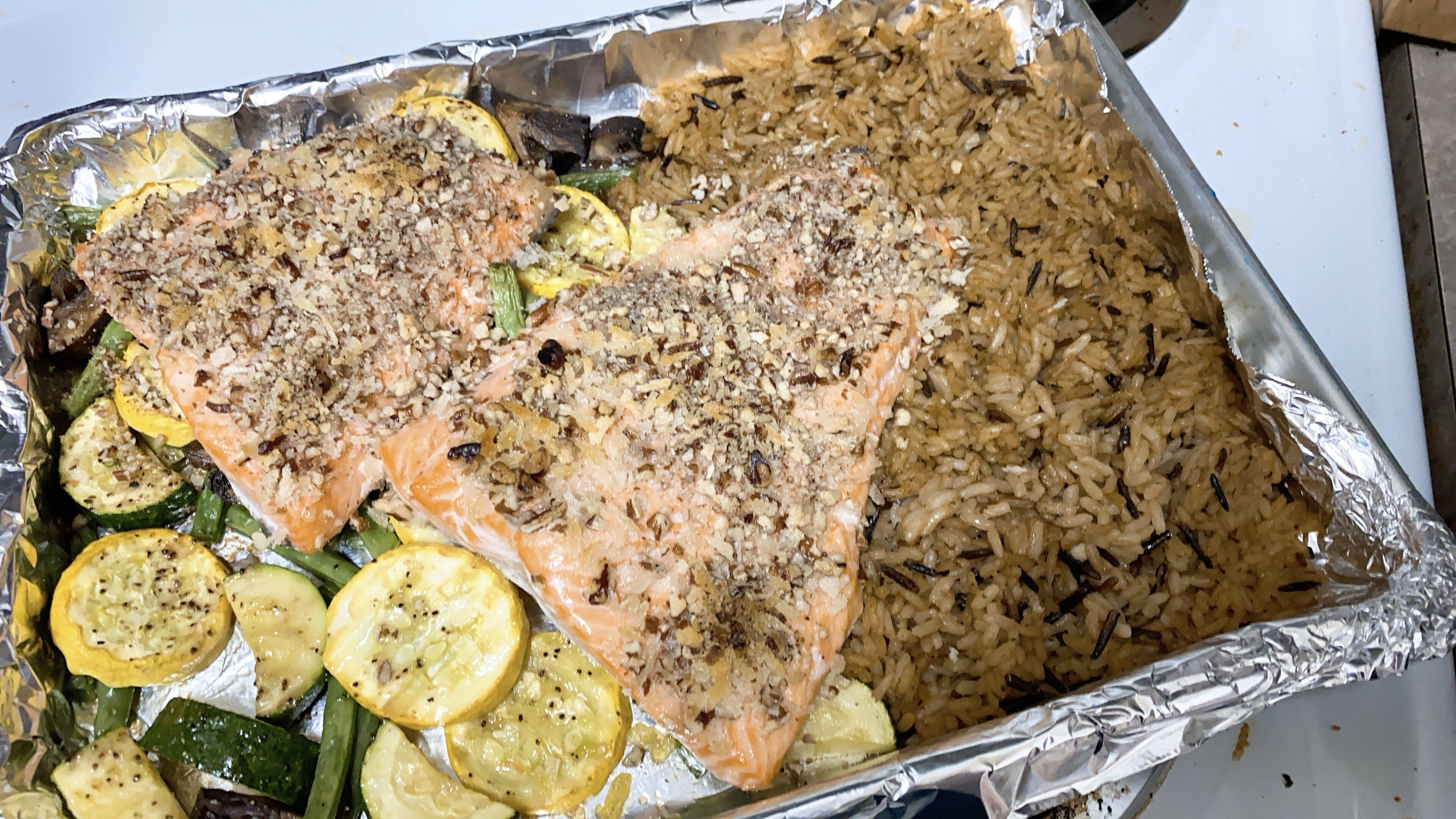 steelhead trout sheet pan dinner