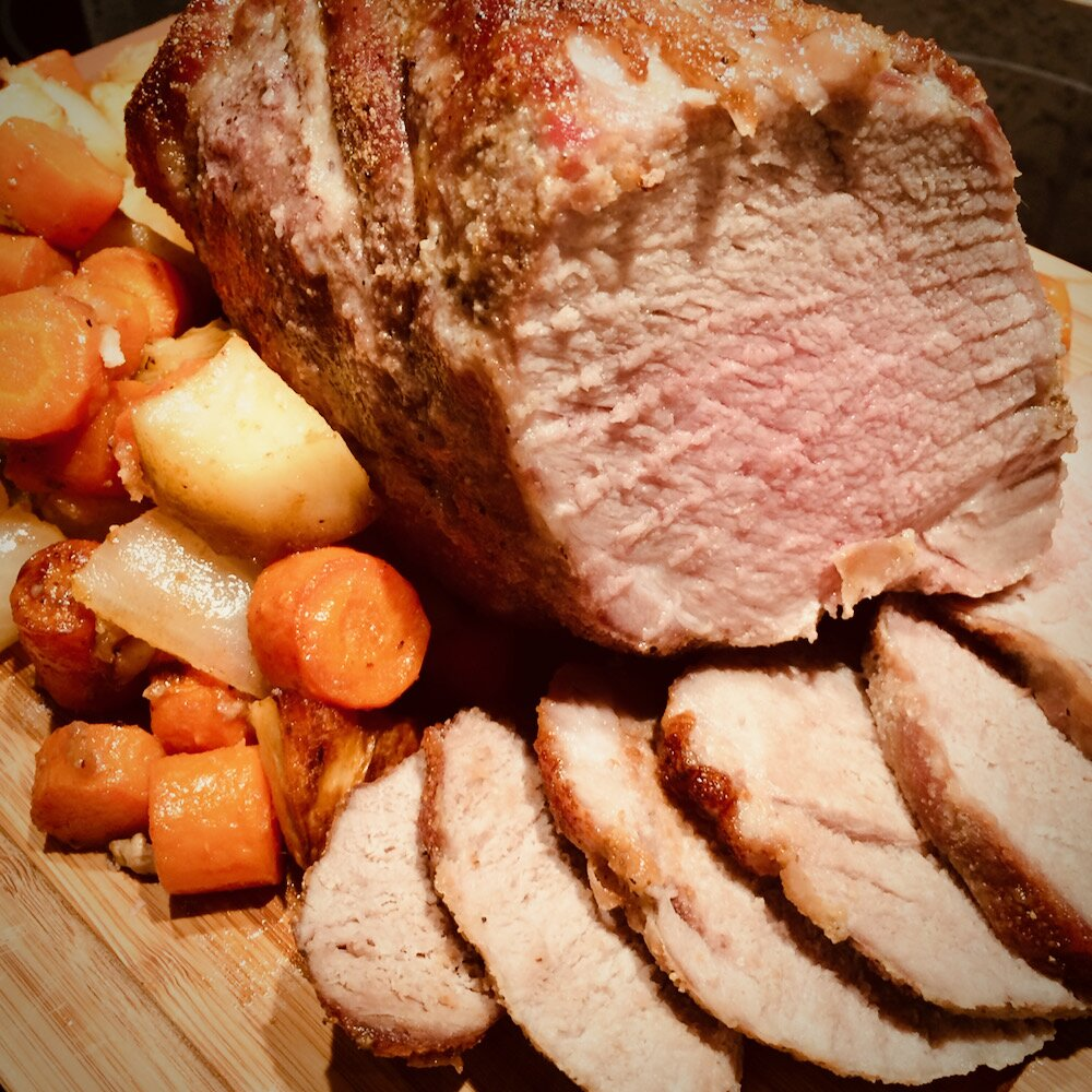 brown sugar and garlic rubbed roast pork and vegetables