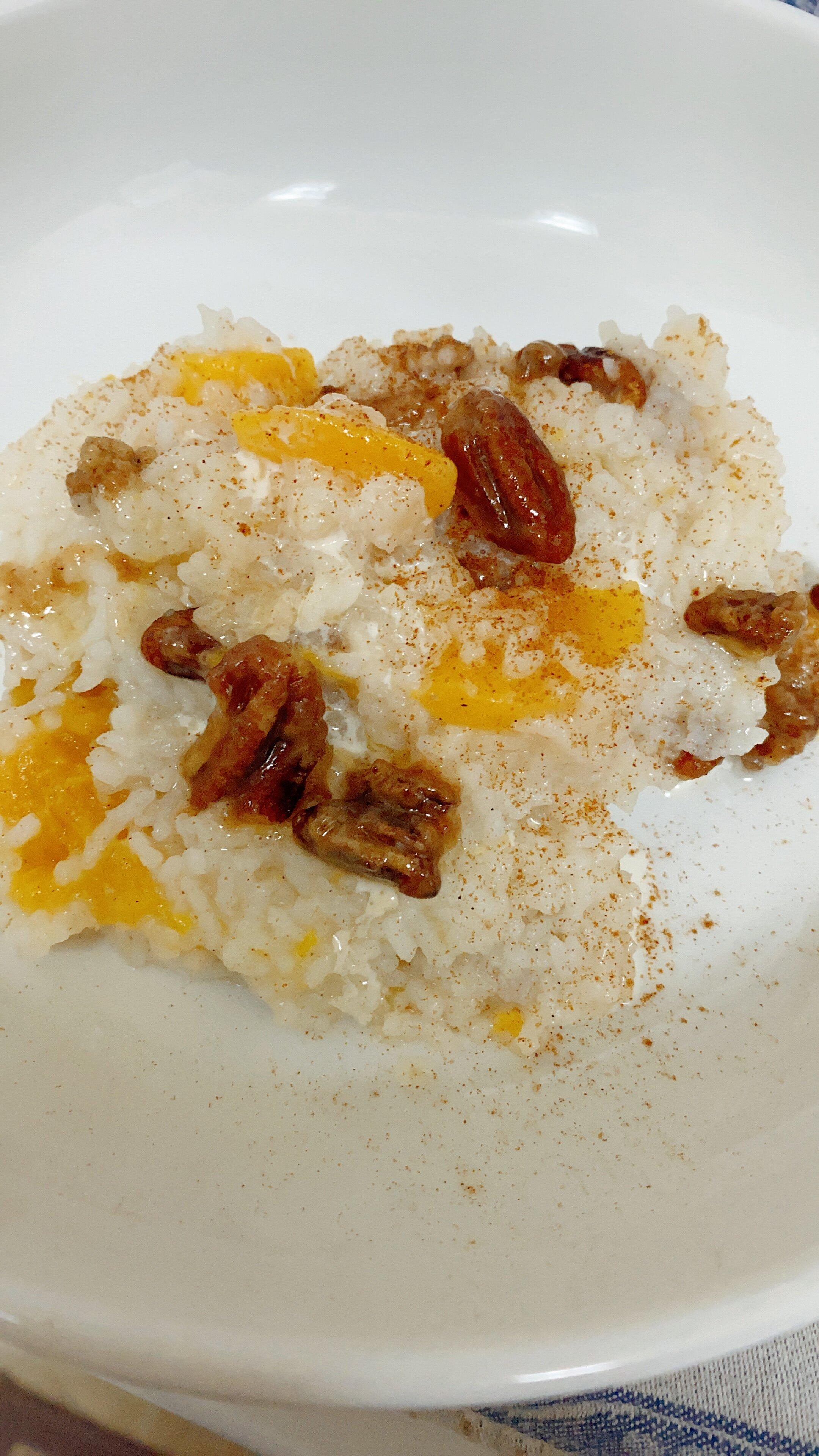 peaches and cream breakfast rice