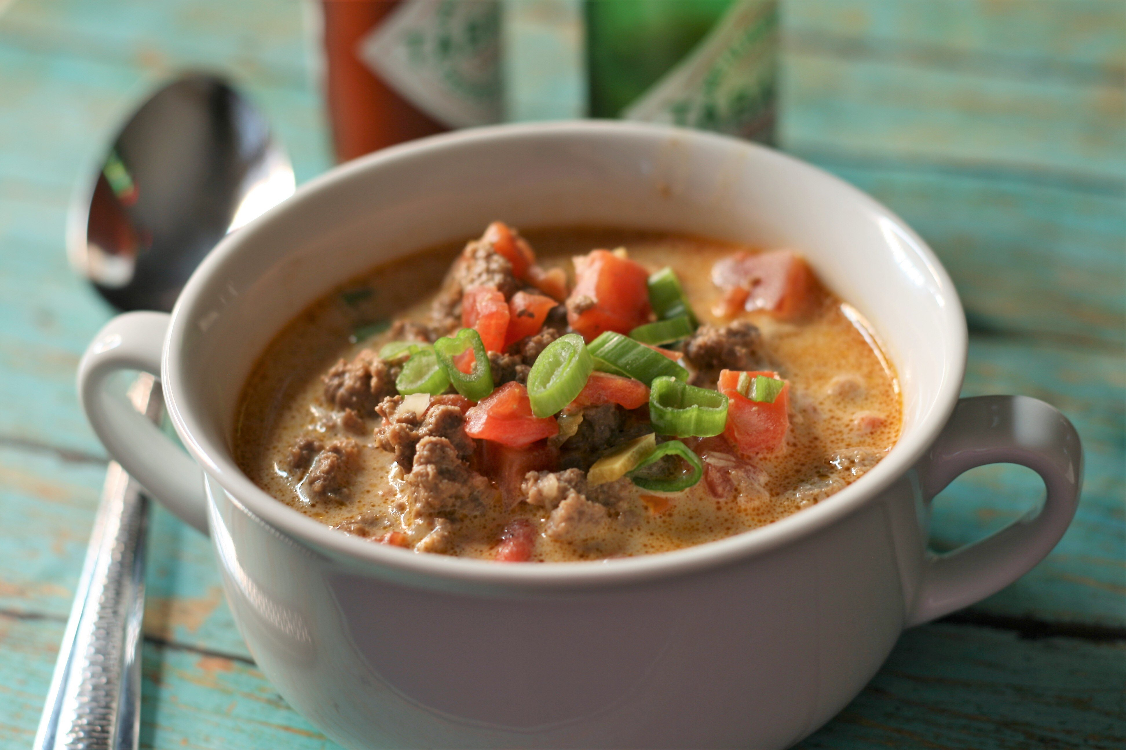 creamy keto taco soup with ground beef recipe