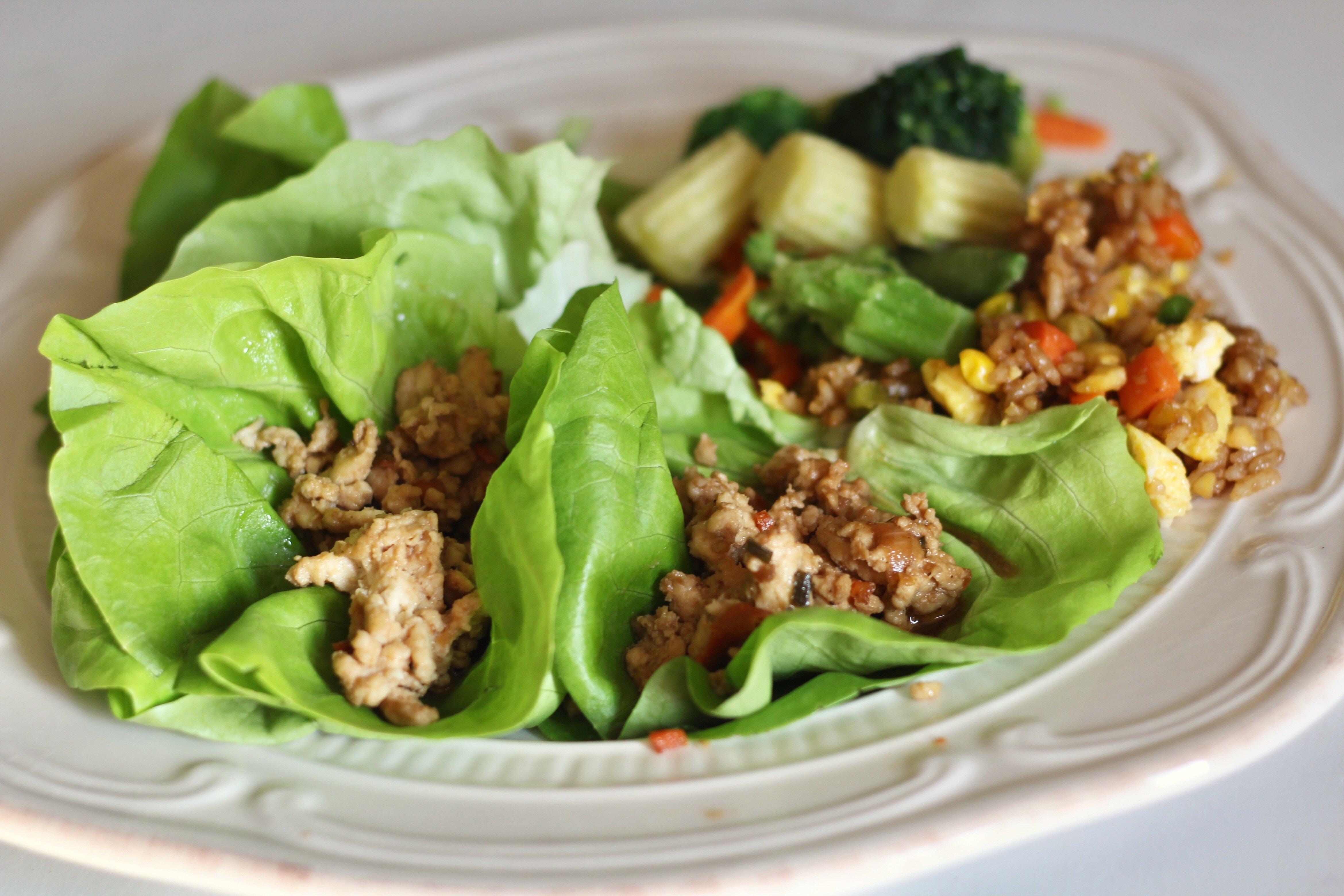 asian inspired chicken lettuce wraps