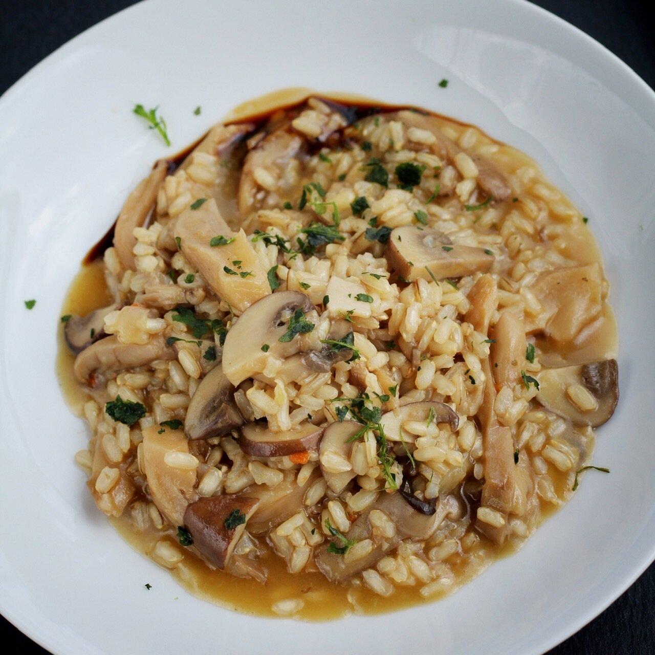 instant pot brown rice and mushroom risotto vegan and gluten