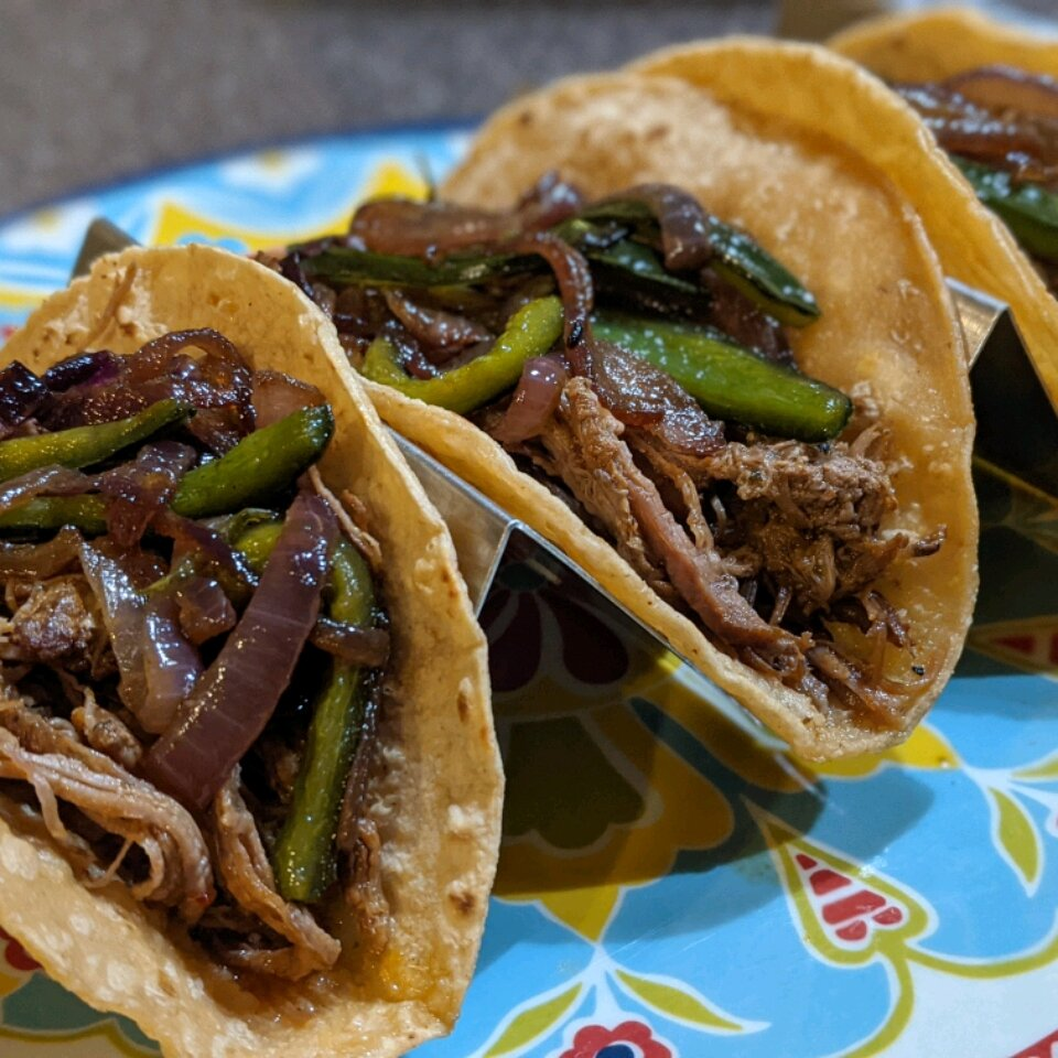 instant pot brisket barbacoa with poblano peppers and onions