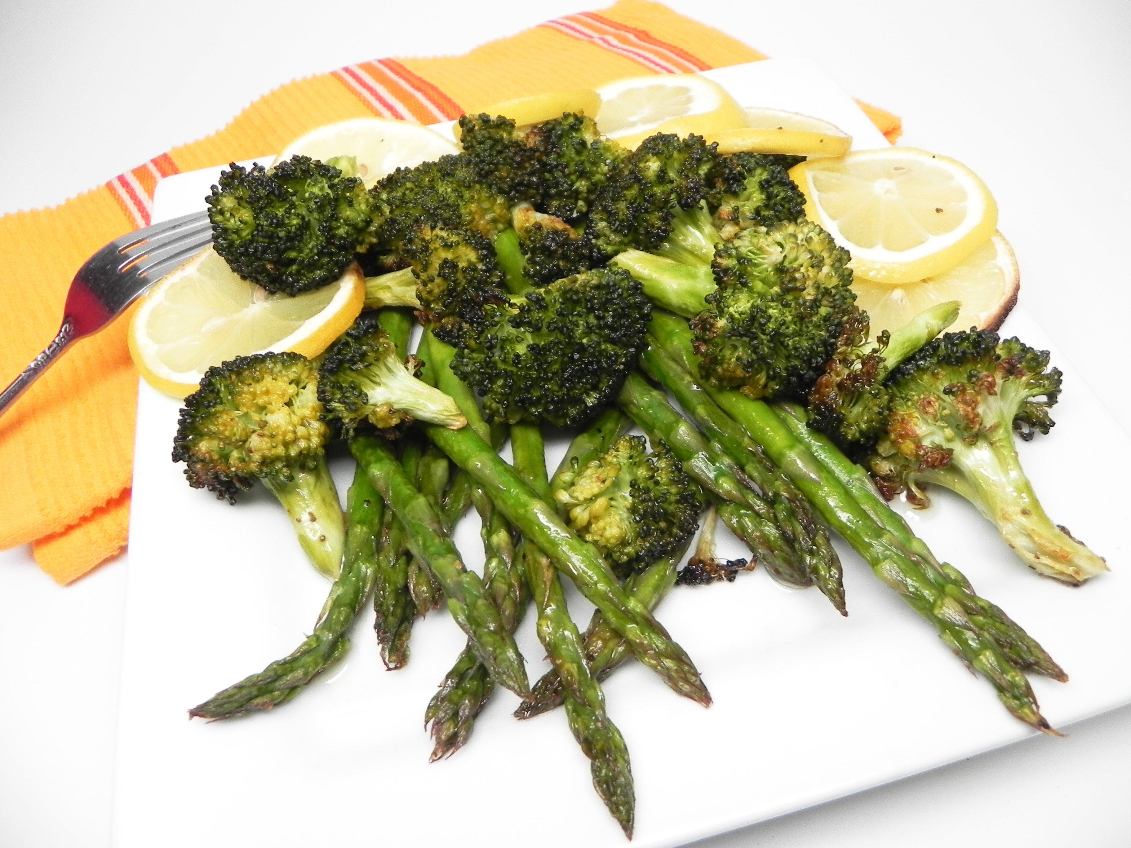 lemon roasted broccoli and asparagus