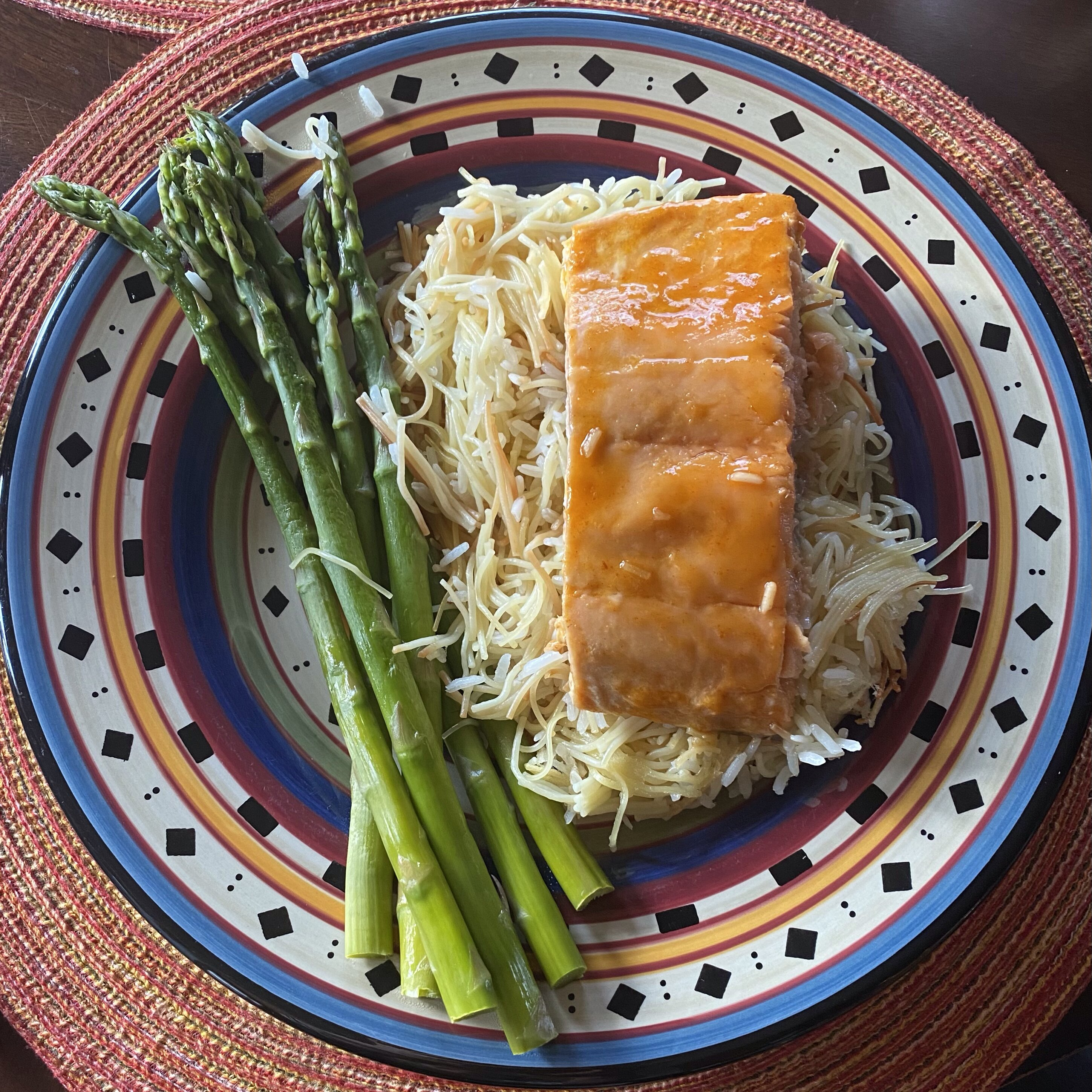 air fryer salmon with maple bourbon glaze