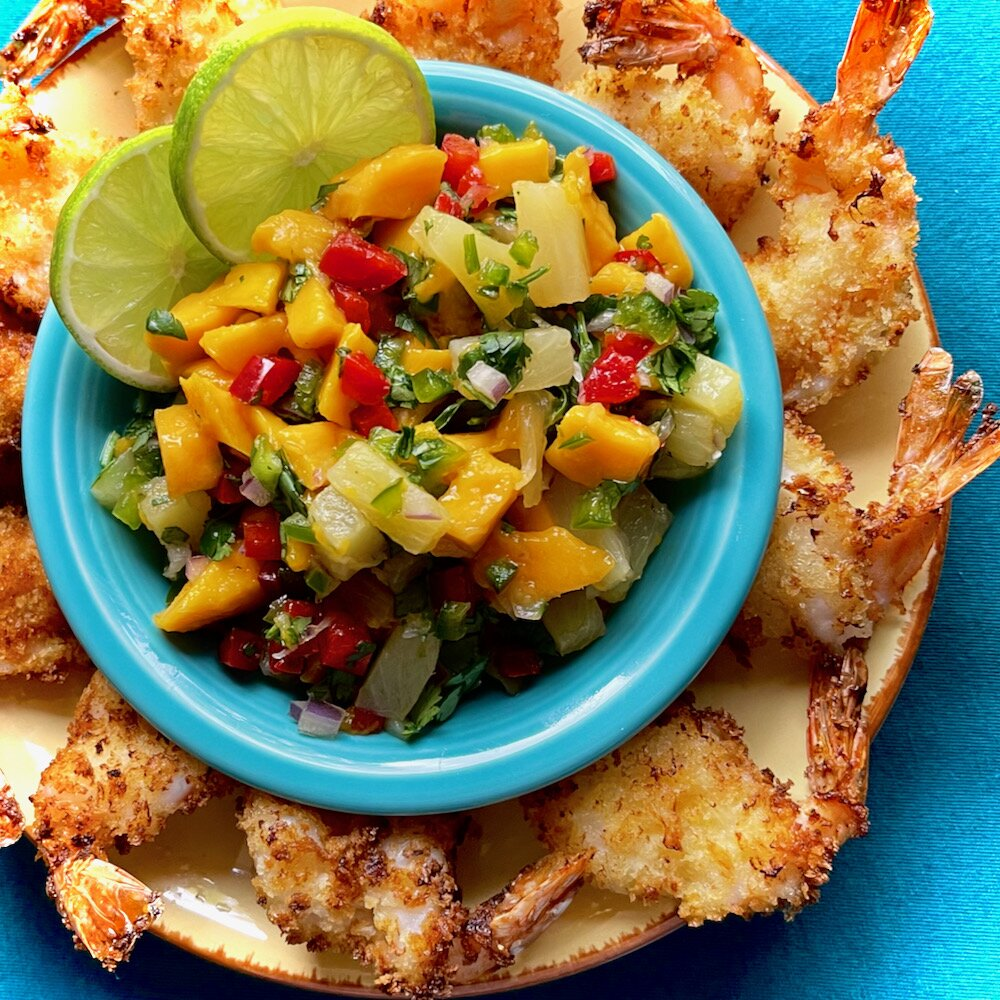 air fryer butterflied shrimp with pineapple and mango salsa