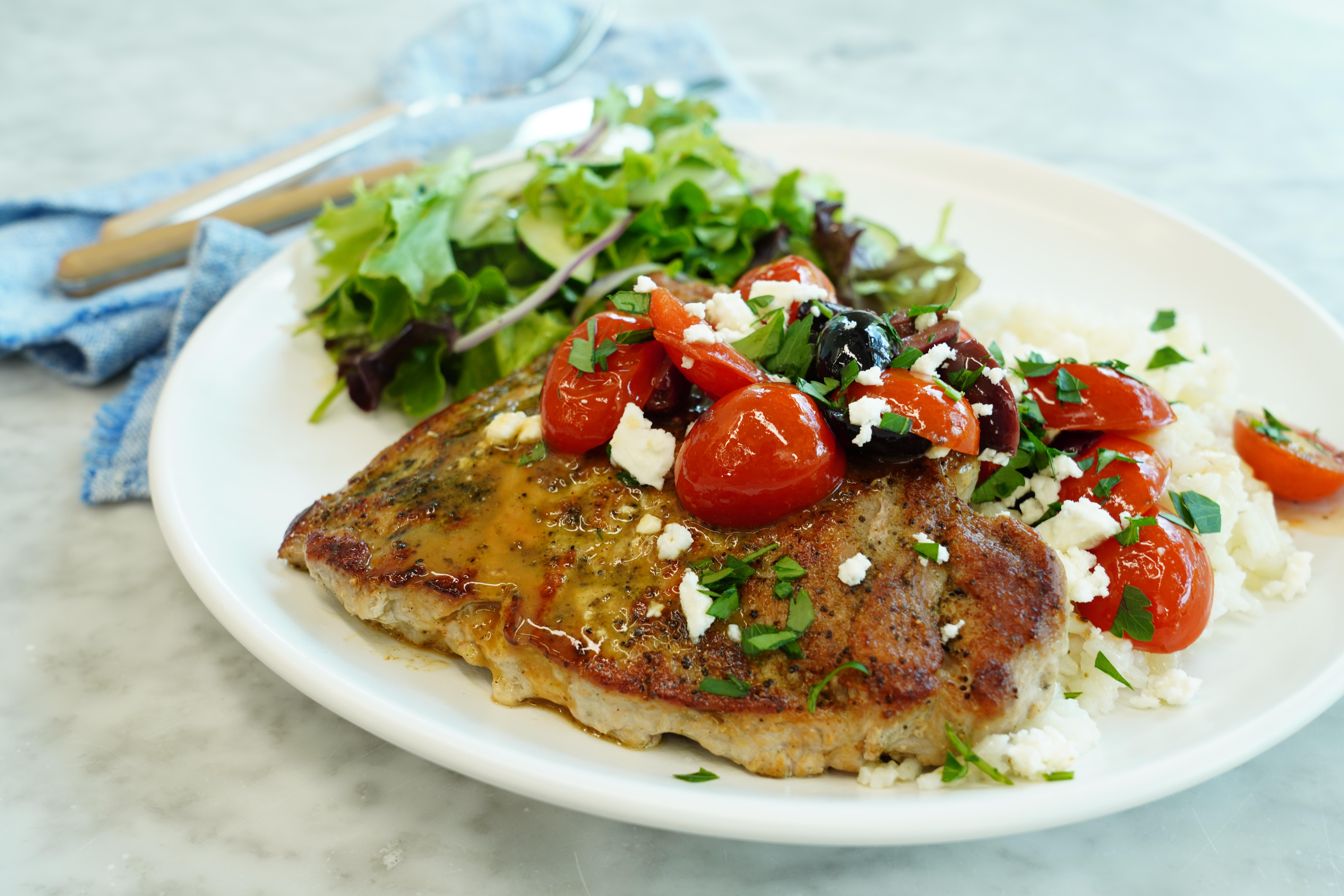 greek inspired seared pork chops