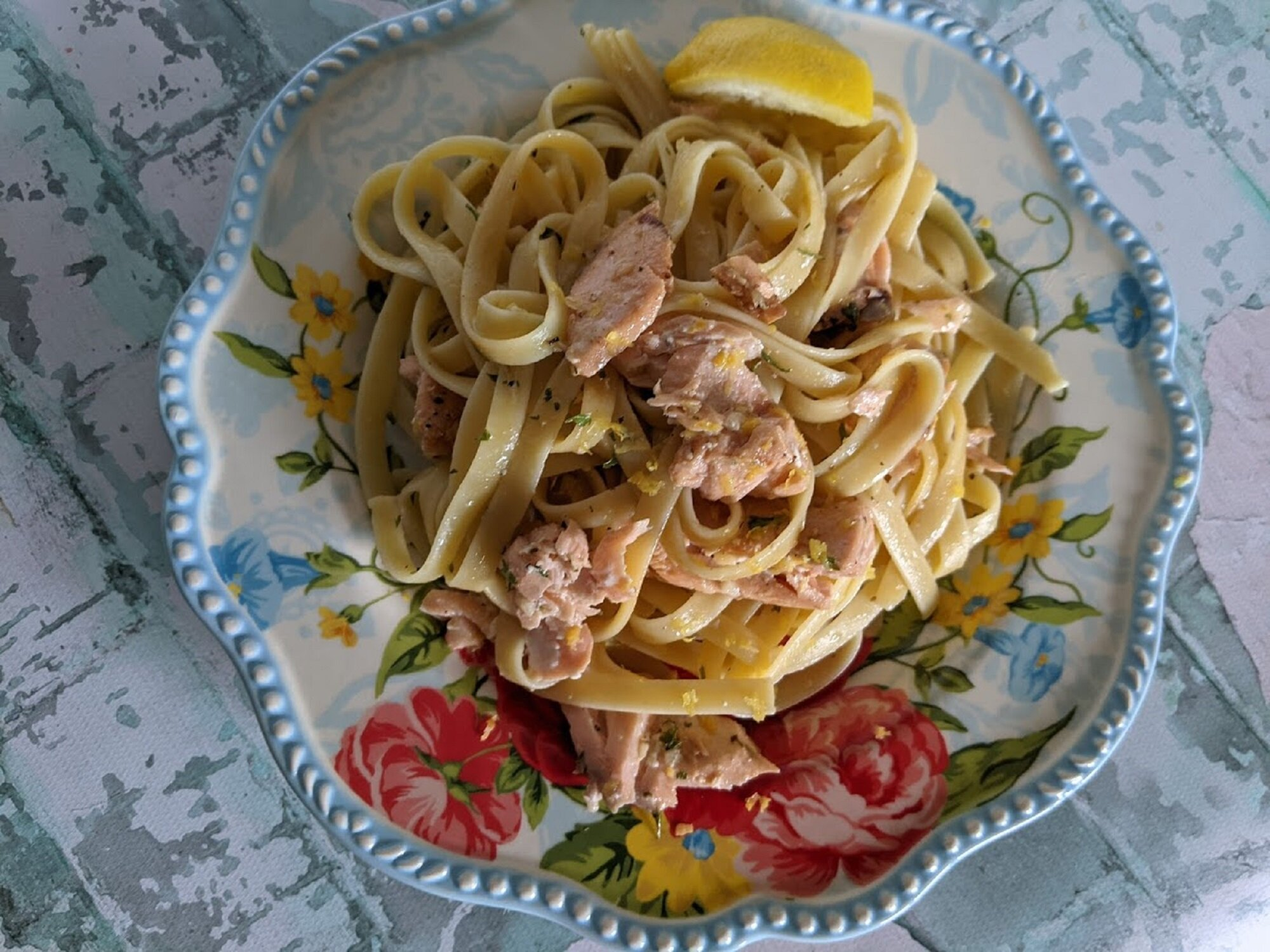 baked lemon butter salmon with pasta