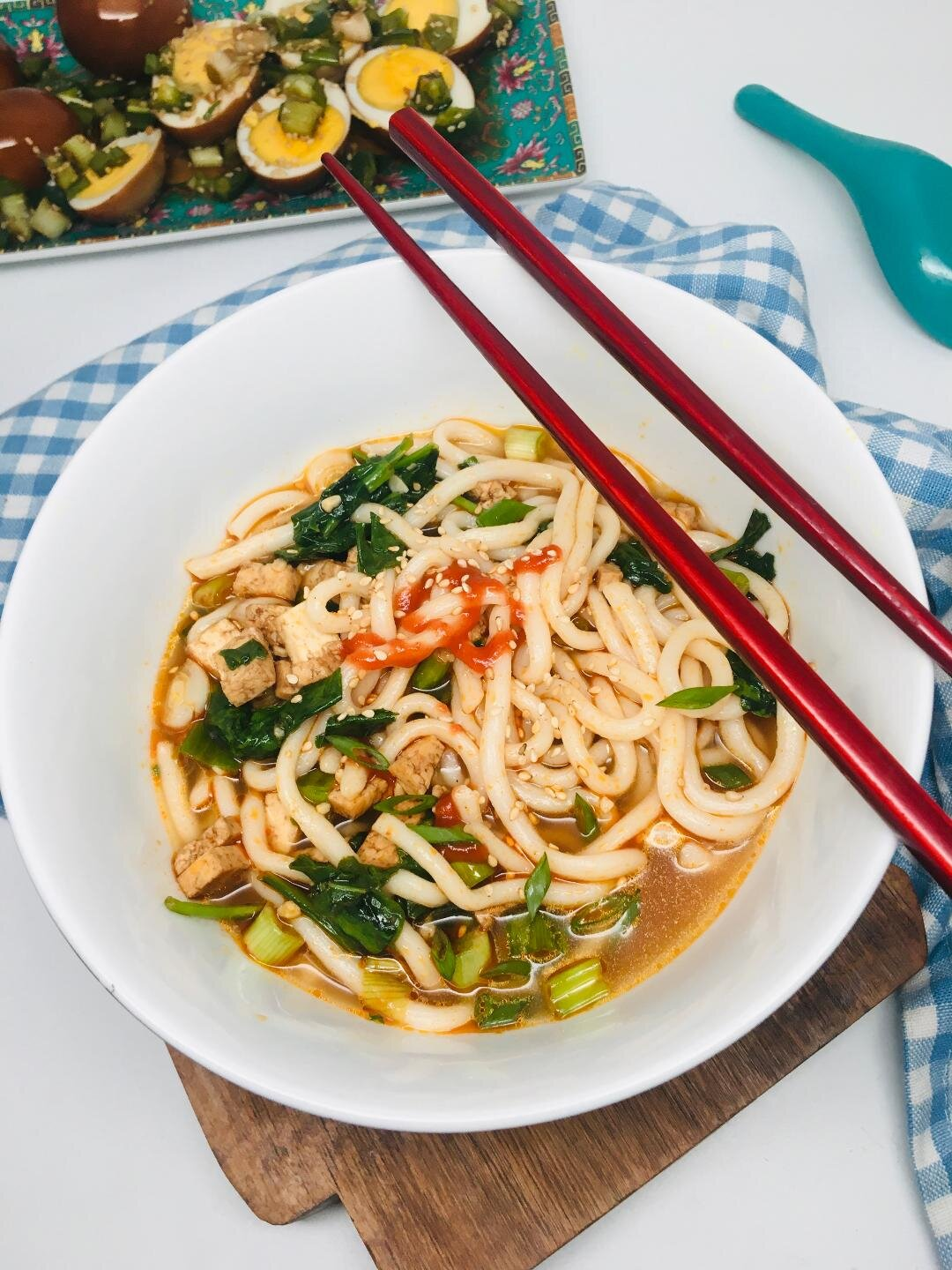 miso udon noodles with spinach and tofu