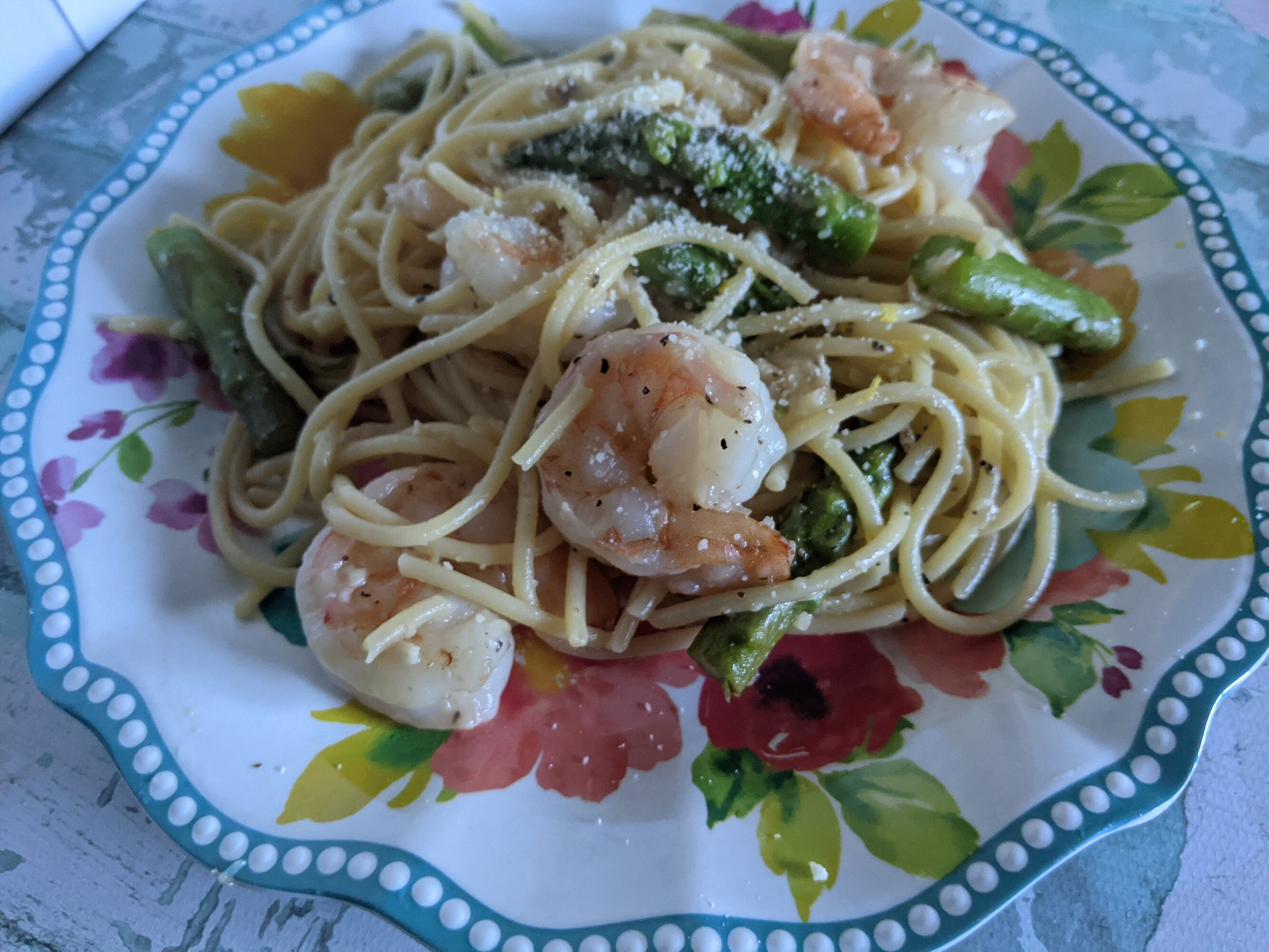 shrimp pasta with grilled asparagus