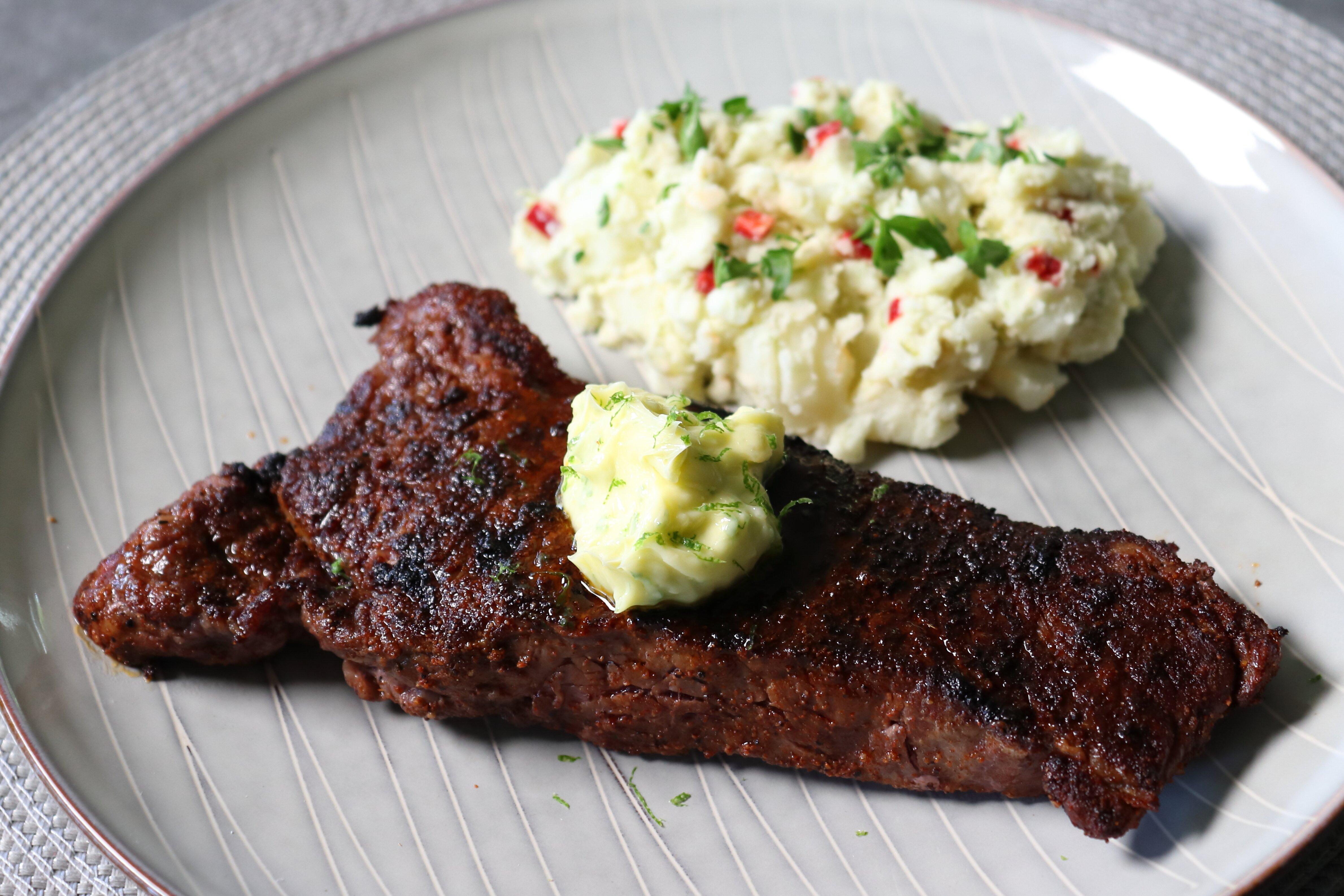grilled chili steak with garlic lime butter