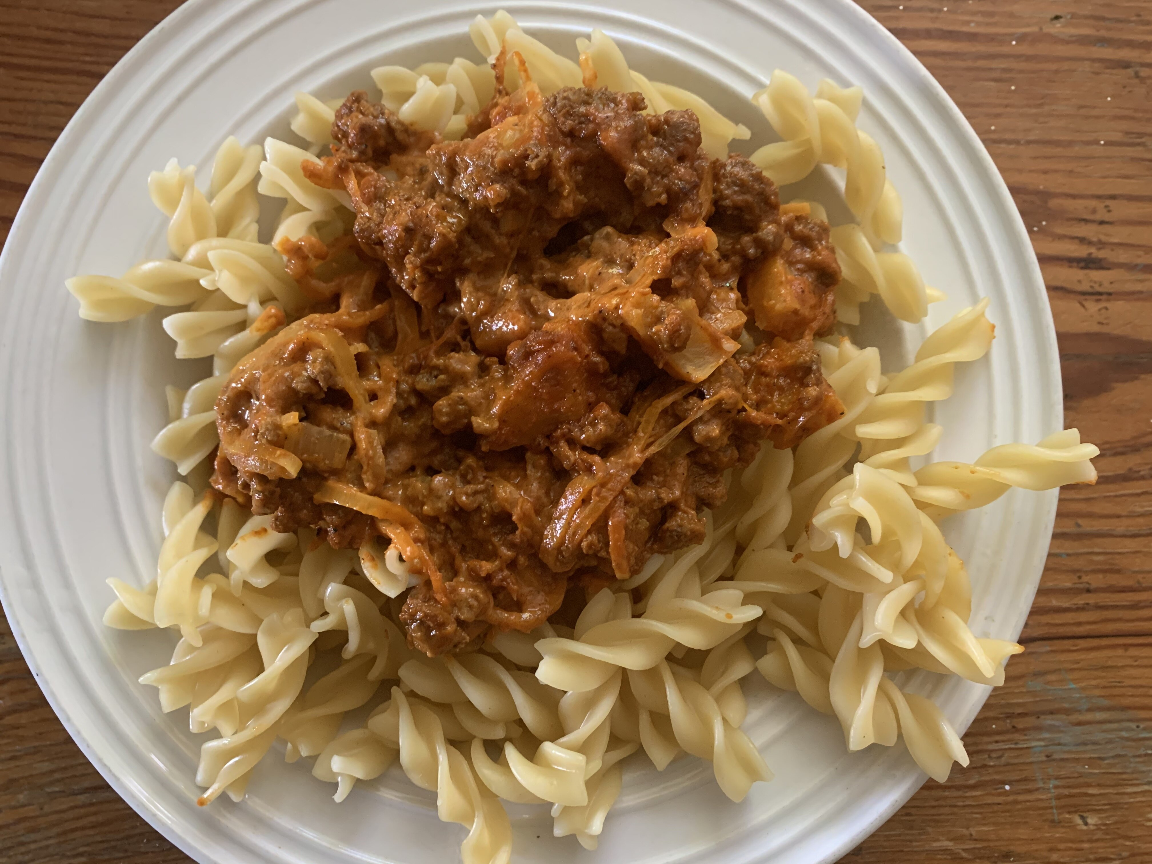 quick curry pasta with ground beef and pineapple