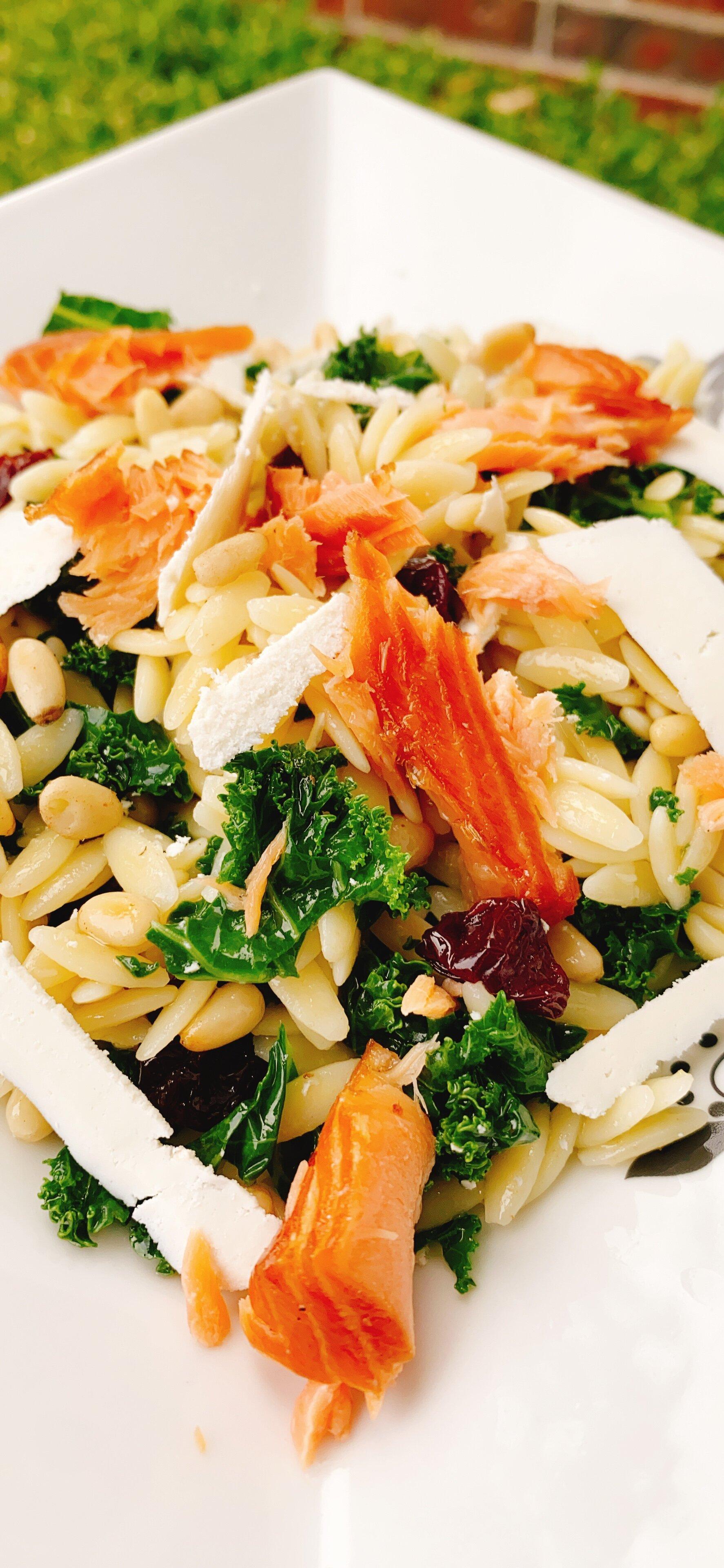 salmon and kale orzo salad