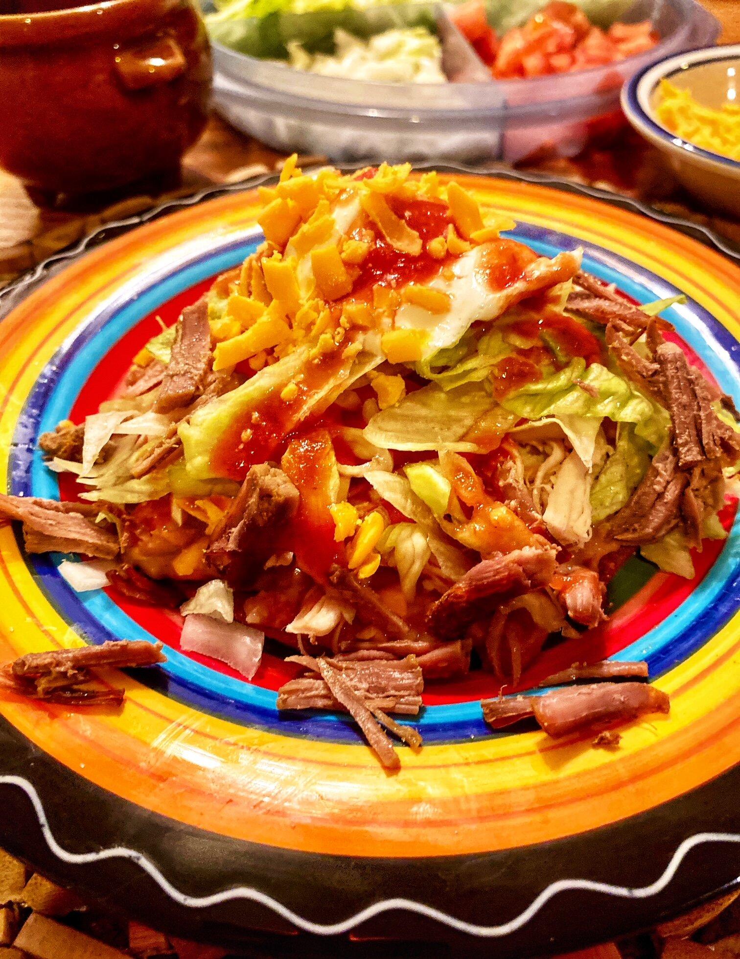 tostadas de salpicon shredded beef