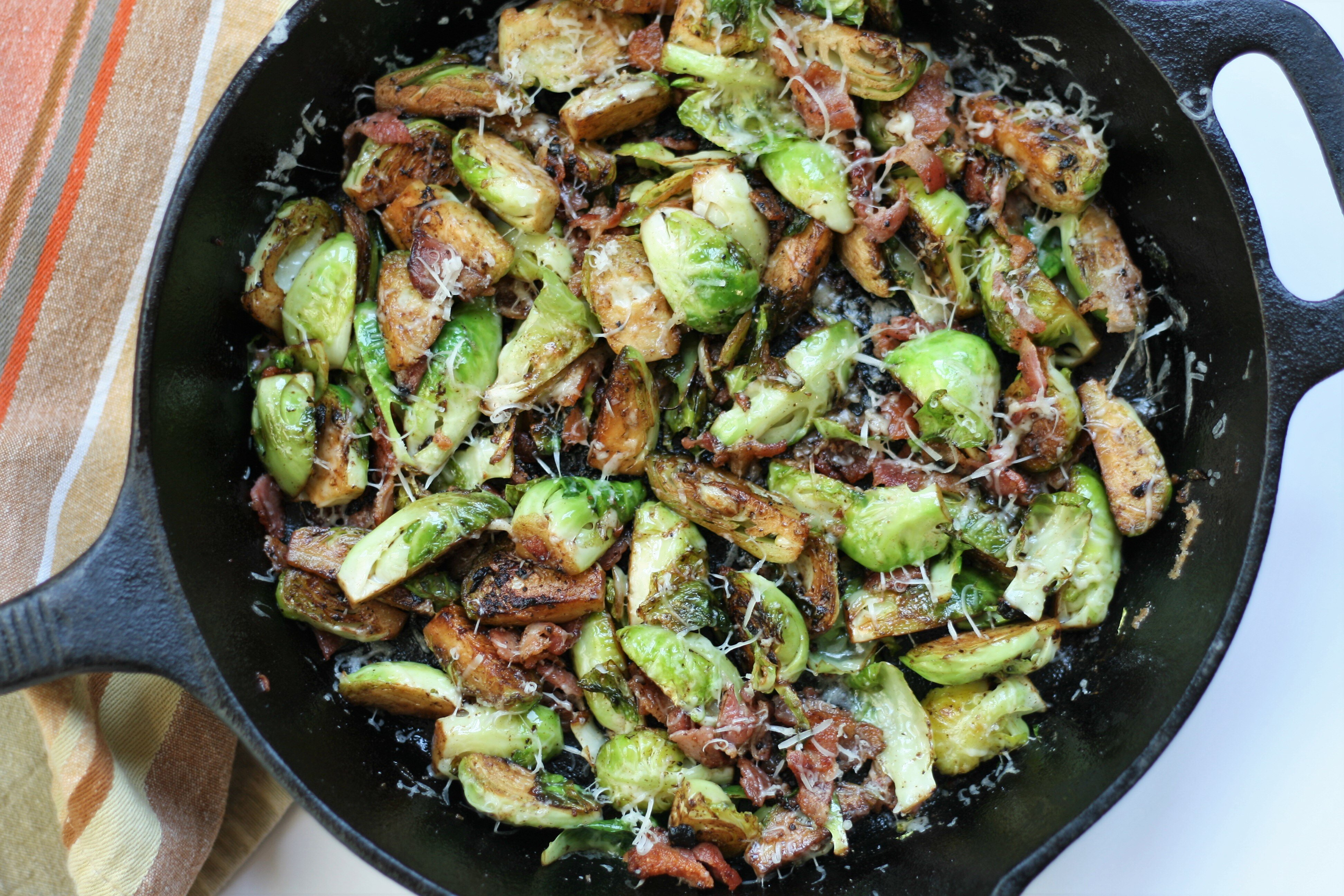 Bacon and Parmesan Brussels Sprouts with Black Garlic