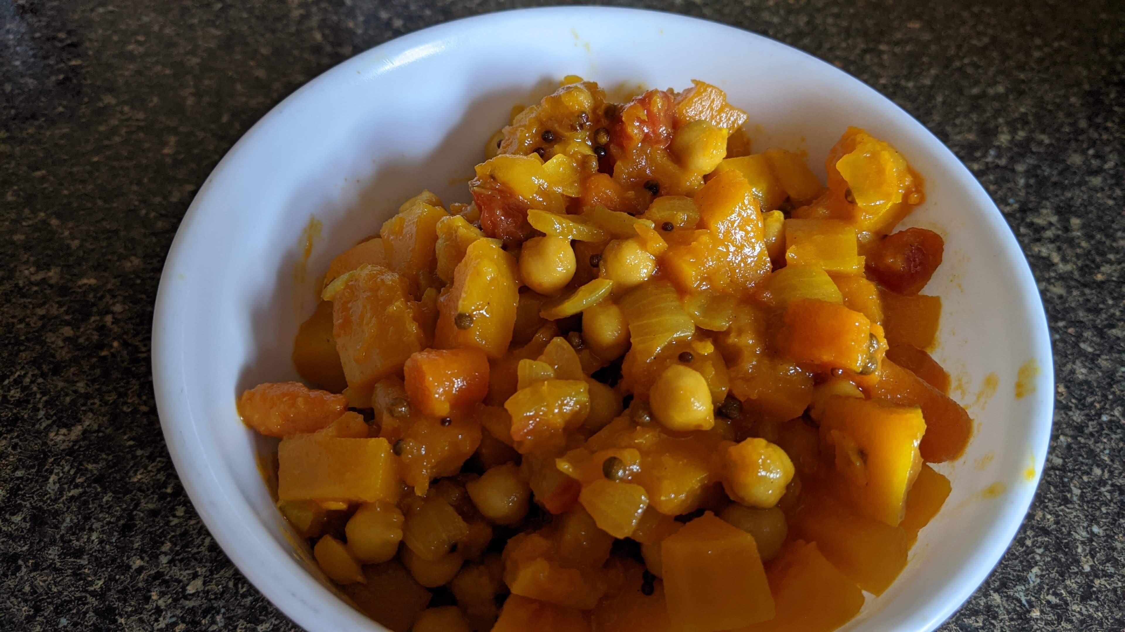 vegan butternut squash and chickpea curry recipe
