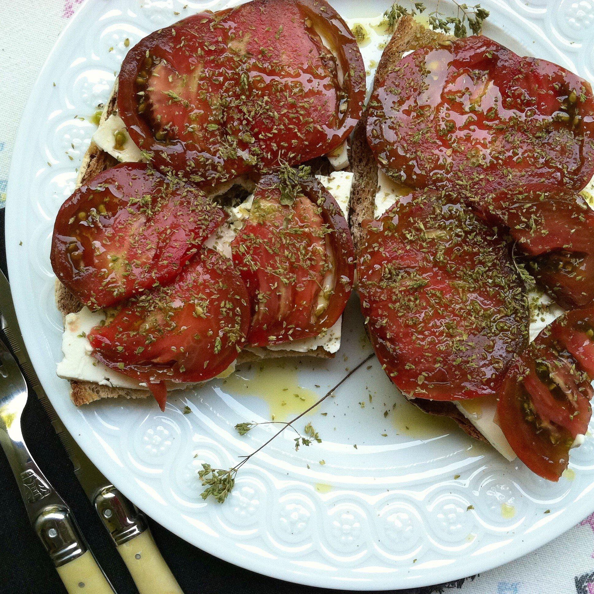 heirloom tomato toast with feta