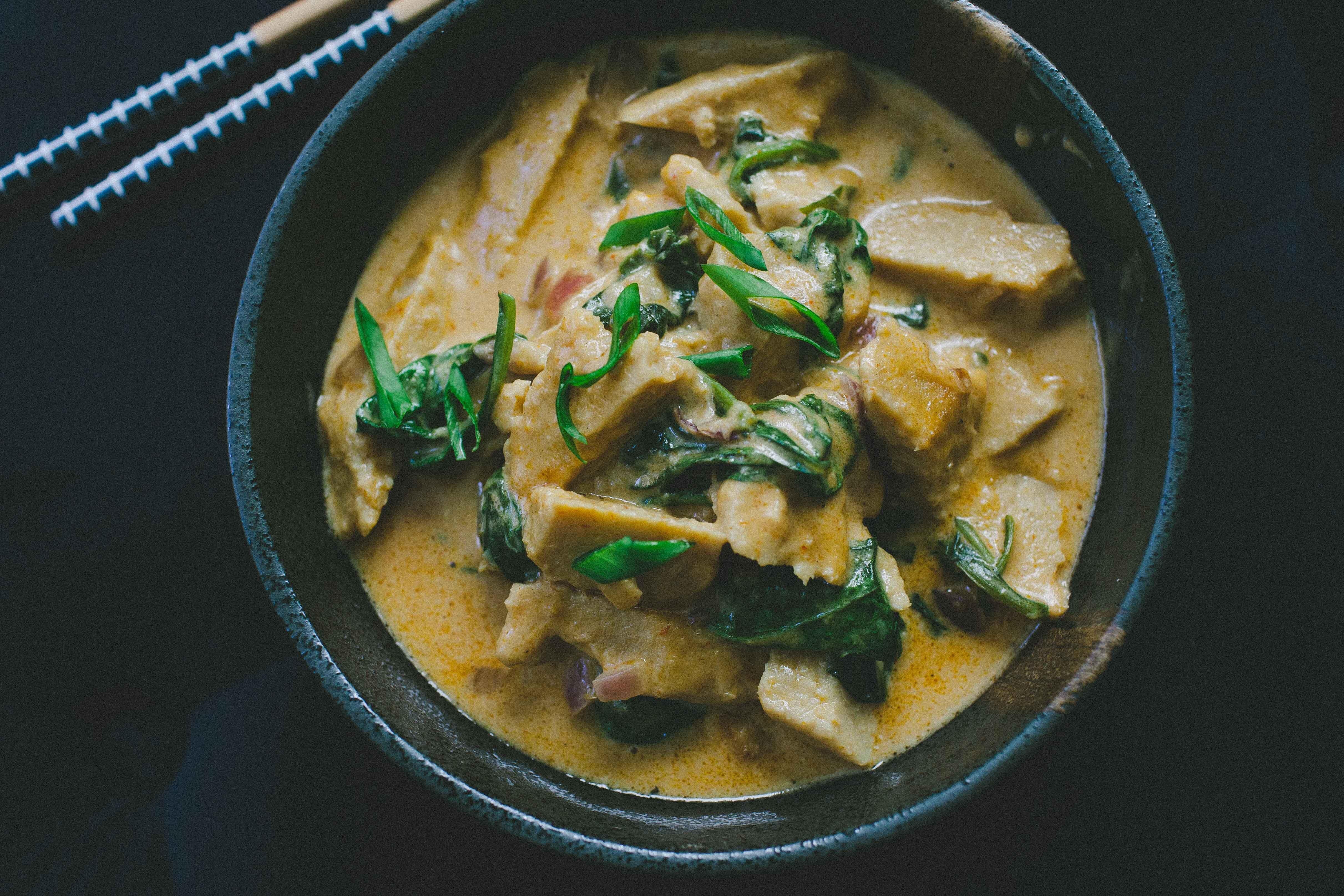 seitan in peanut sauce or vegetarian gai tua recipe