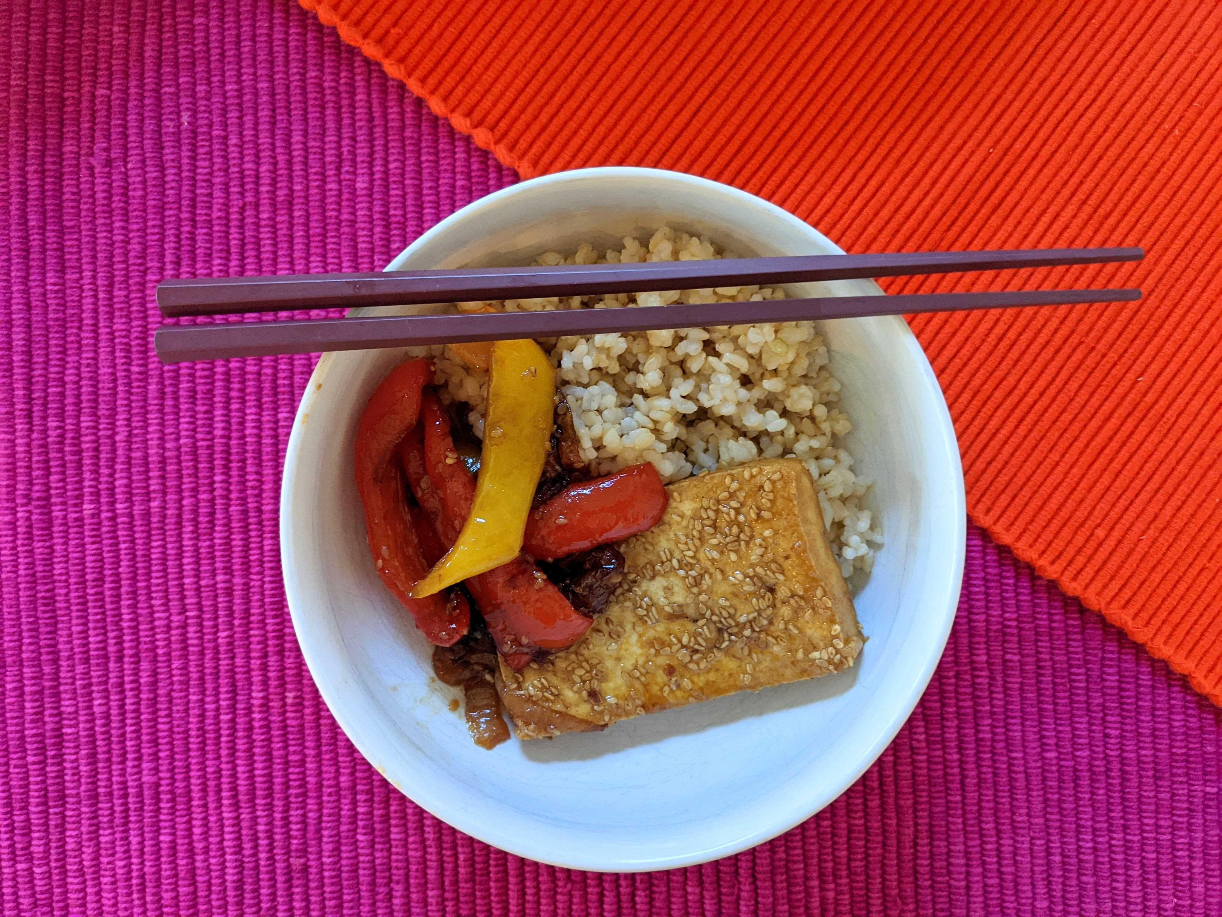 easy sesame tofu with teriyaki vegetables