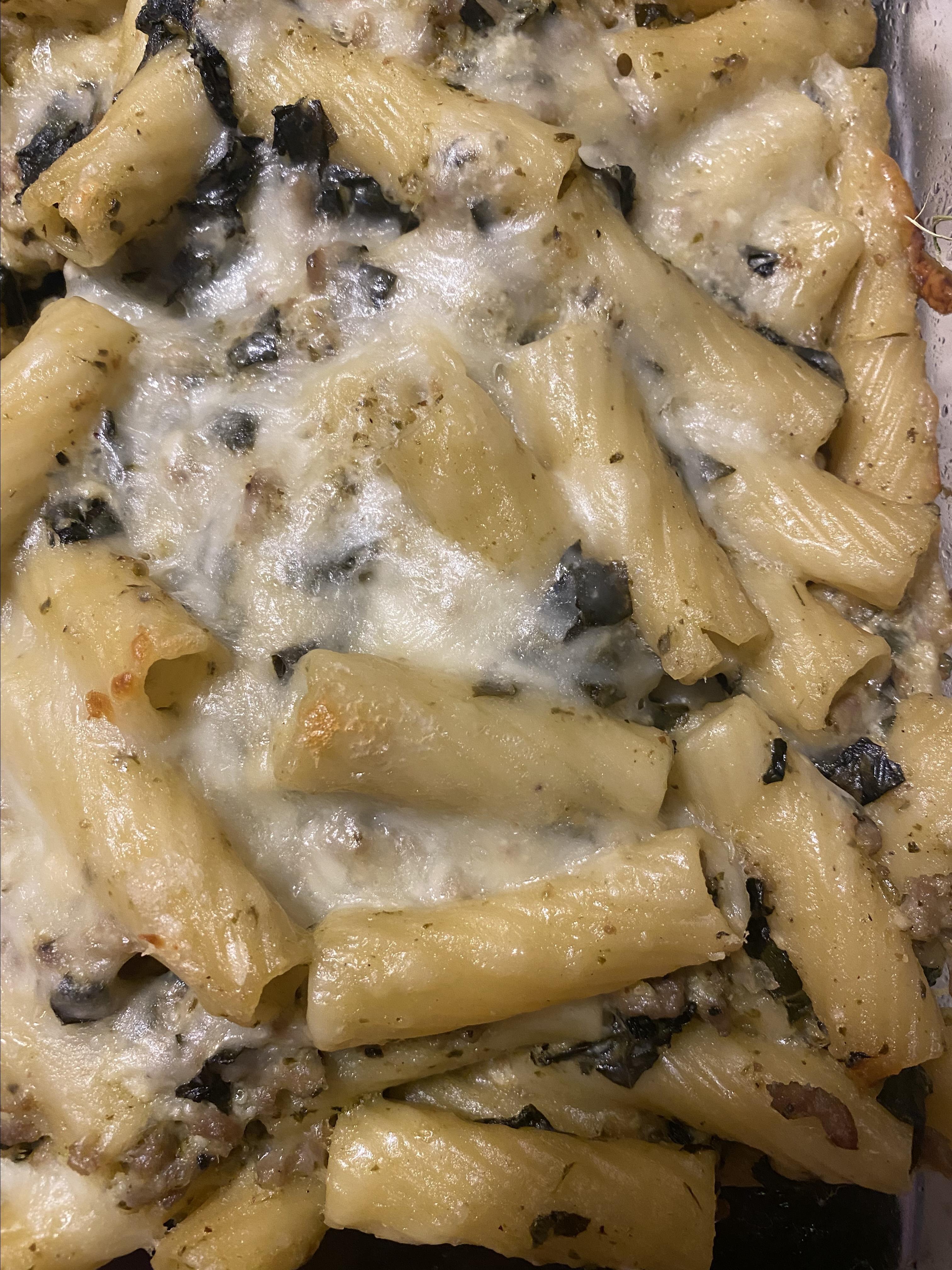 ricotta pesto pasta with sausage and kale