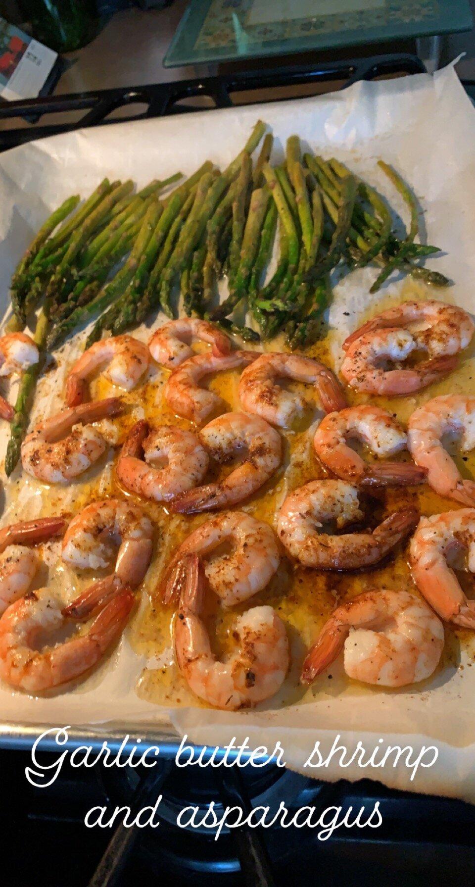 sheet pan lemon butter garlic shrimp with asparagus recipe