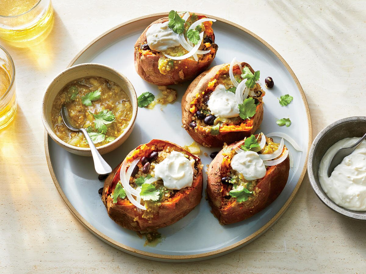 These Southwestern-Style Stuffed Sweet Potatoes Are Filled With Cheese, Beans, and Quinoa