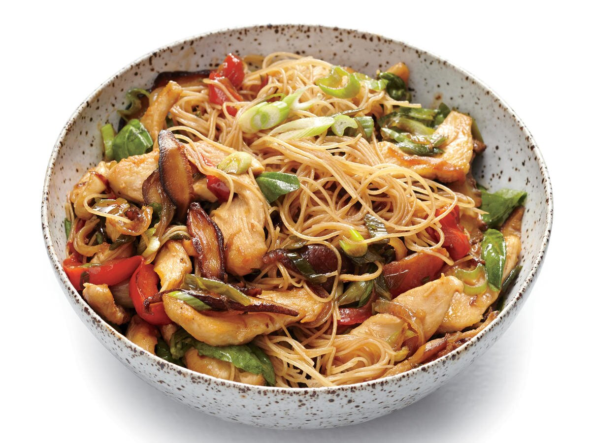 Chicken And Rice Noodle Stir Fry With Ginger And Basil Recipe Cooking Light