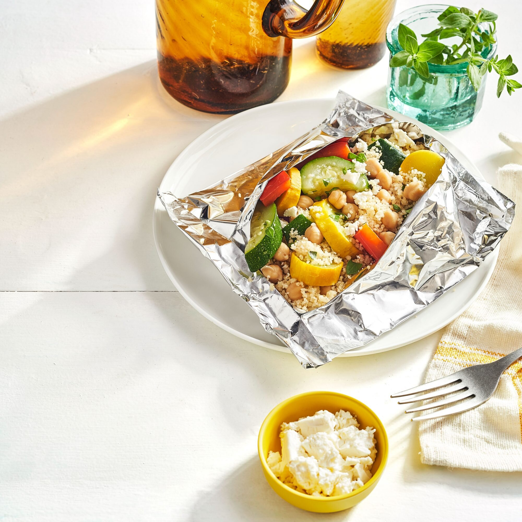 Grilled Vegetables with Chickpeas, Feta, and Couscous