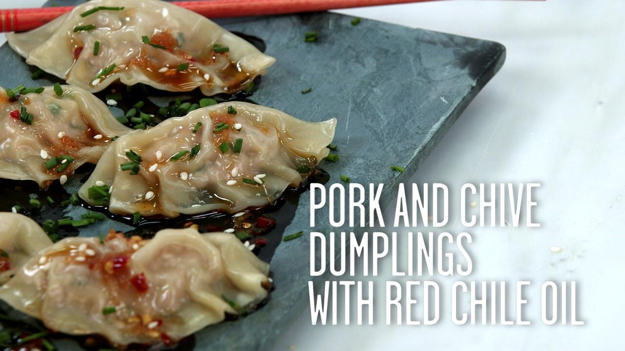 How to Make Pork and Chive Dumplings with Red Chile Oil