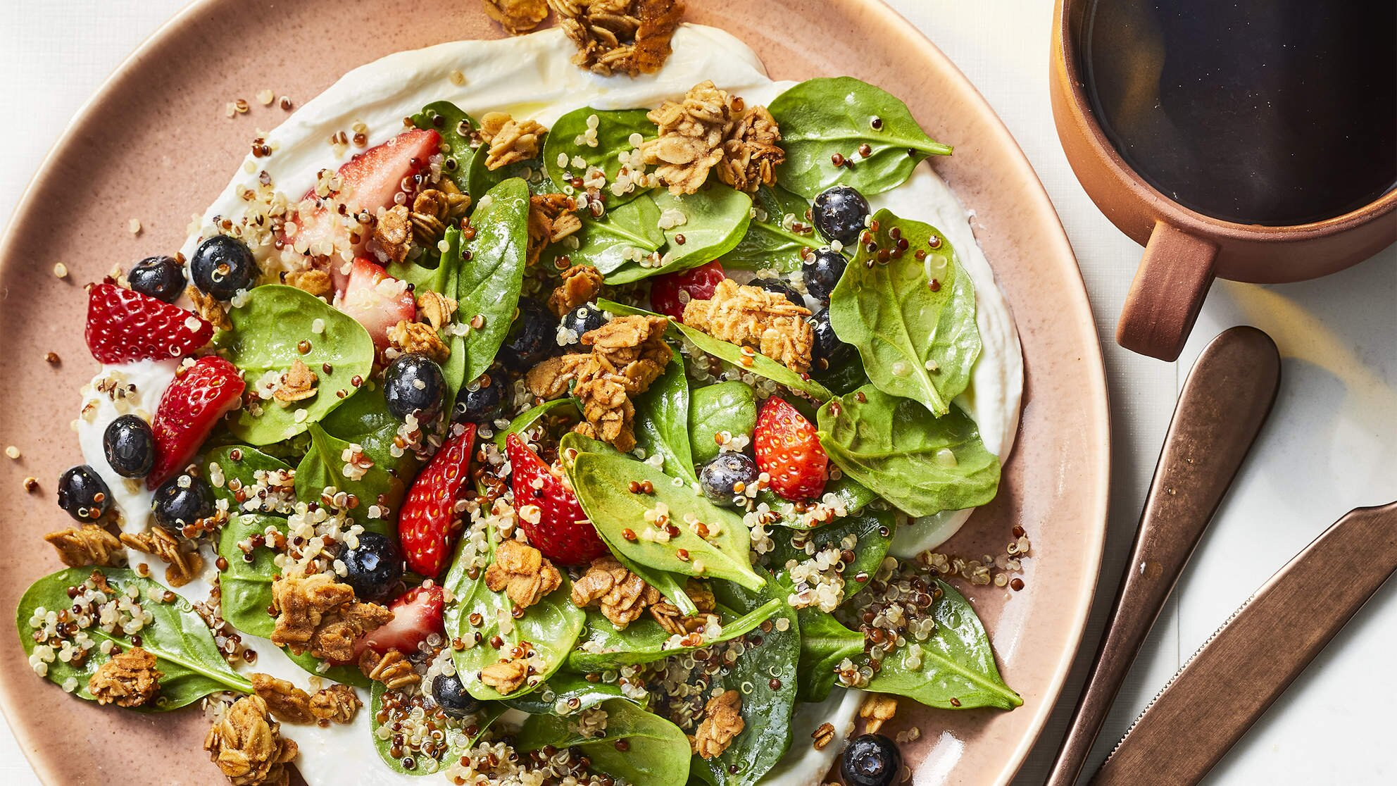 Photo of How To Make Spinach-Quinoa Breakfast Salad With Berries And Granola