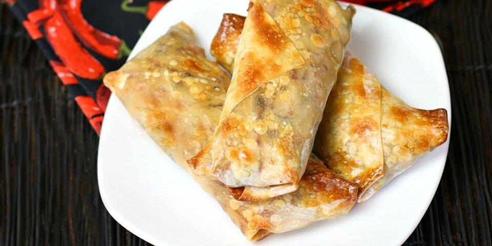 turkey spinach crispy baked egg rolls recipe