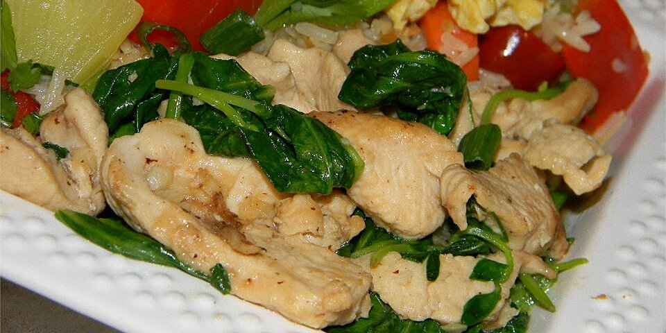 pea shoots and chicken in garlic sauce recipe