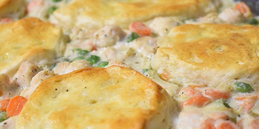 moms fabulous chicken pot pie with biscuit crust recipe