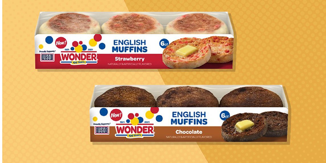 wonder bread debuts strawberry and chocolate english muffins