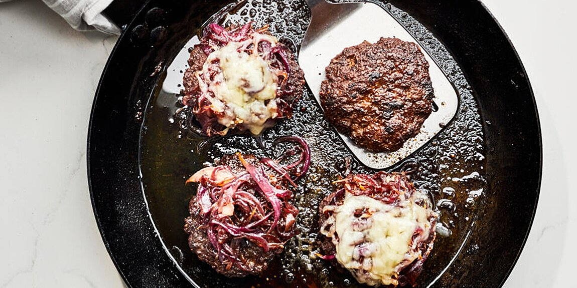 Ina Garten's Smashed Burgers with Caramelized Onions Recipe