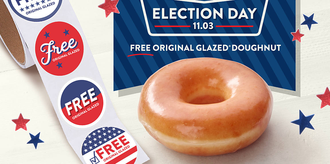 you can get a free doughnut from krispy kreme on election day