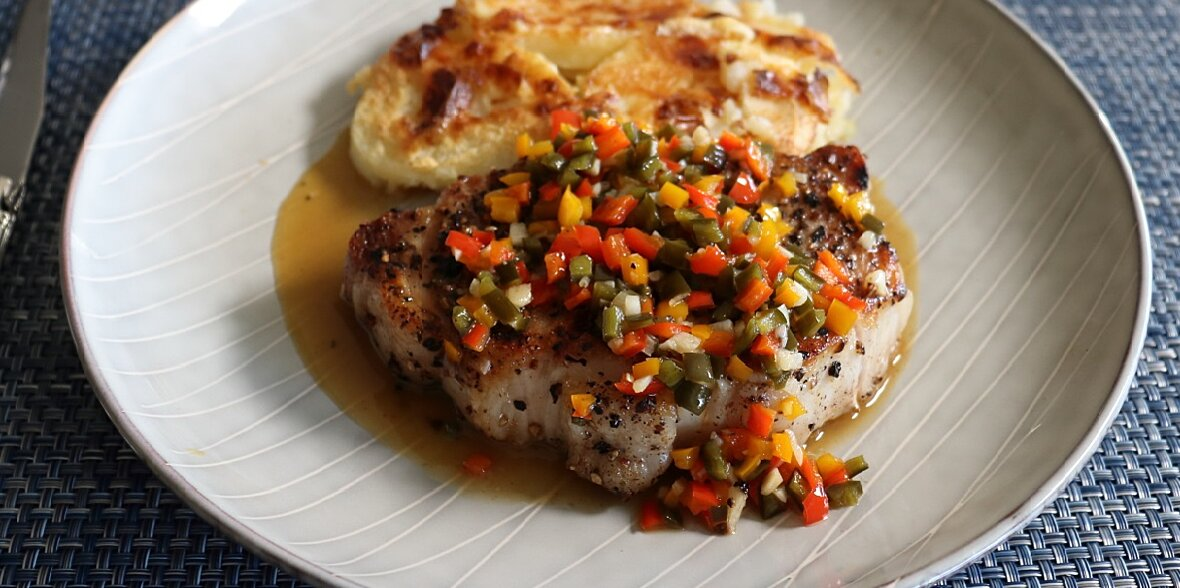 chef johns seven pepper pork chop is the perfect marriage of dry