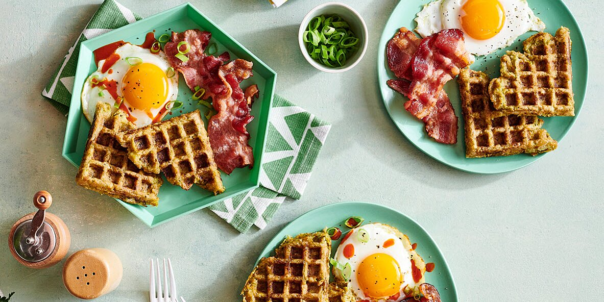 broccoli cheese veggie tots waffles with bacon and eggs