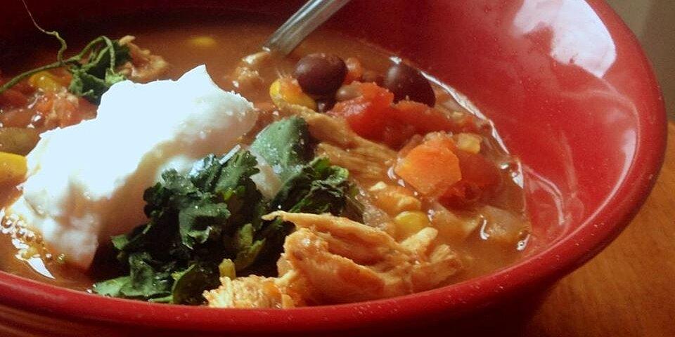 healthier slow cooker chicken taco soup recipe