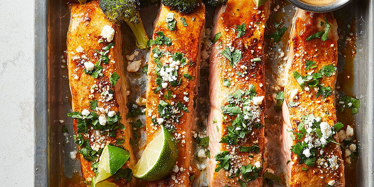 Sheet-Pan Salmon with Sweet Potatoes & Broccoli
