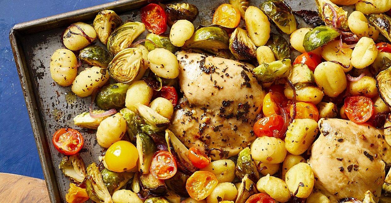 Sheet-Pan Mediterranean Chicken, Brussels Sprouts & Gnocchi