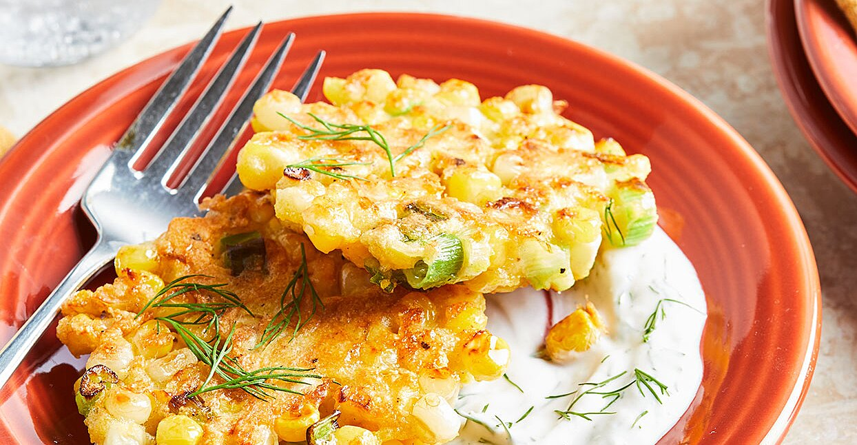 Corn Fritters with Yogurt-Dill Sauce