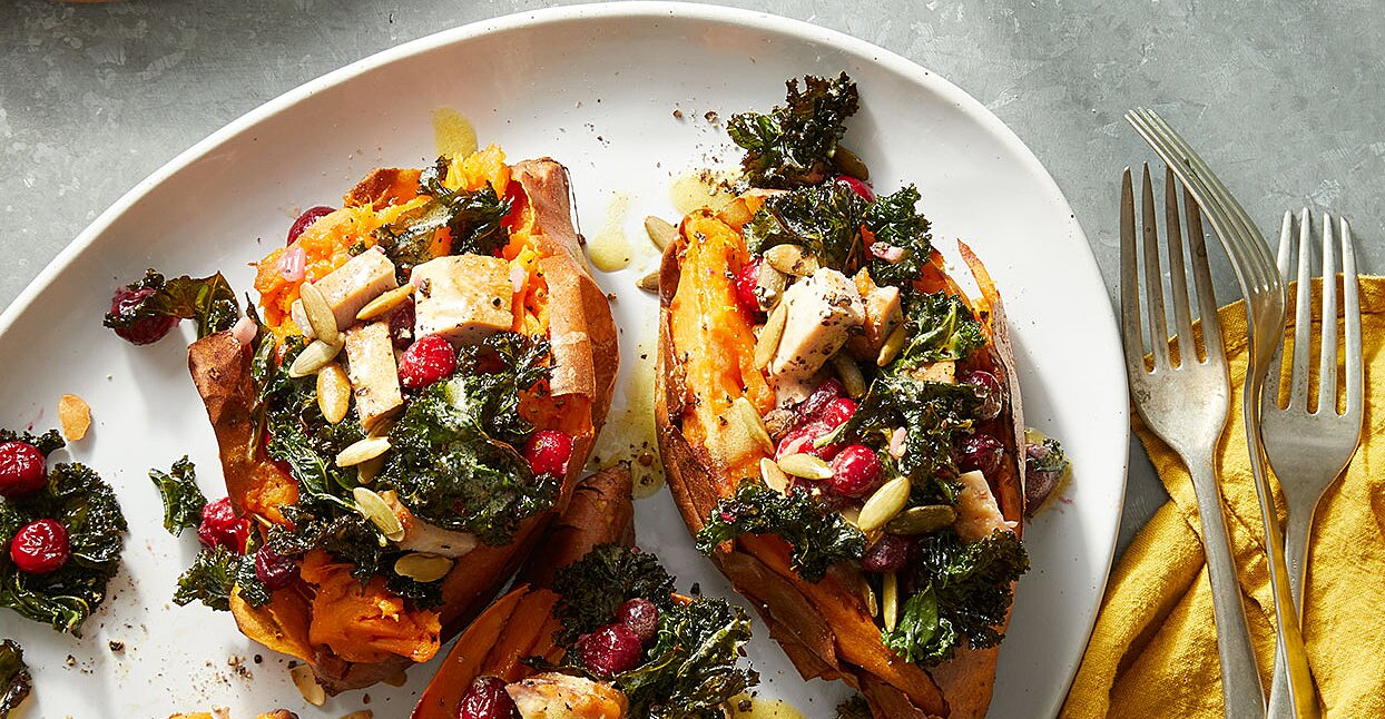 Baked Sweet Potatoes with Cranberries & Turkey