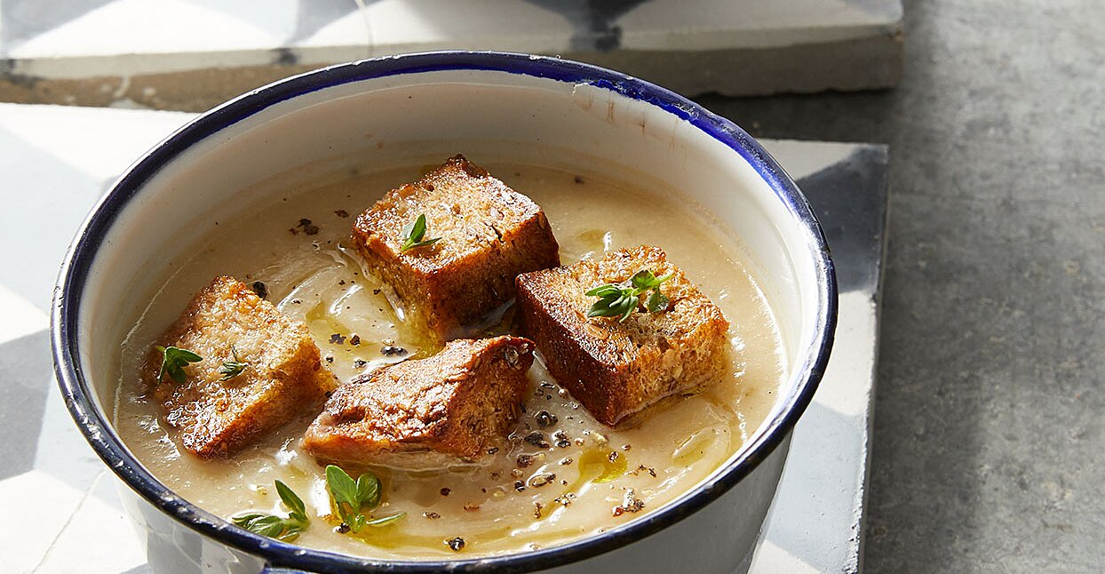 Cauliflower & White Bean Soup with Herb Croutons