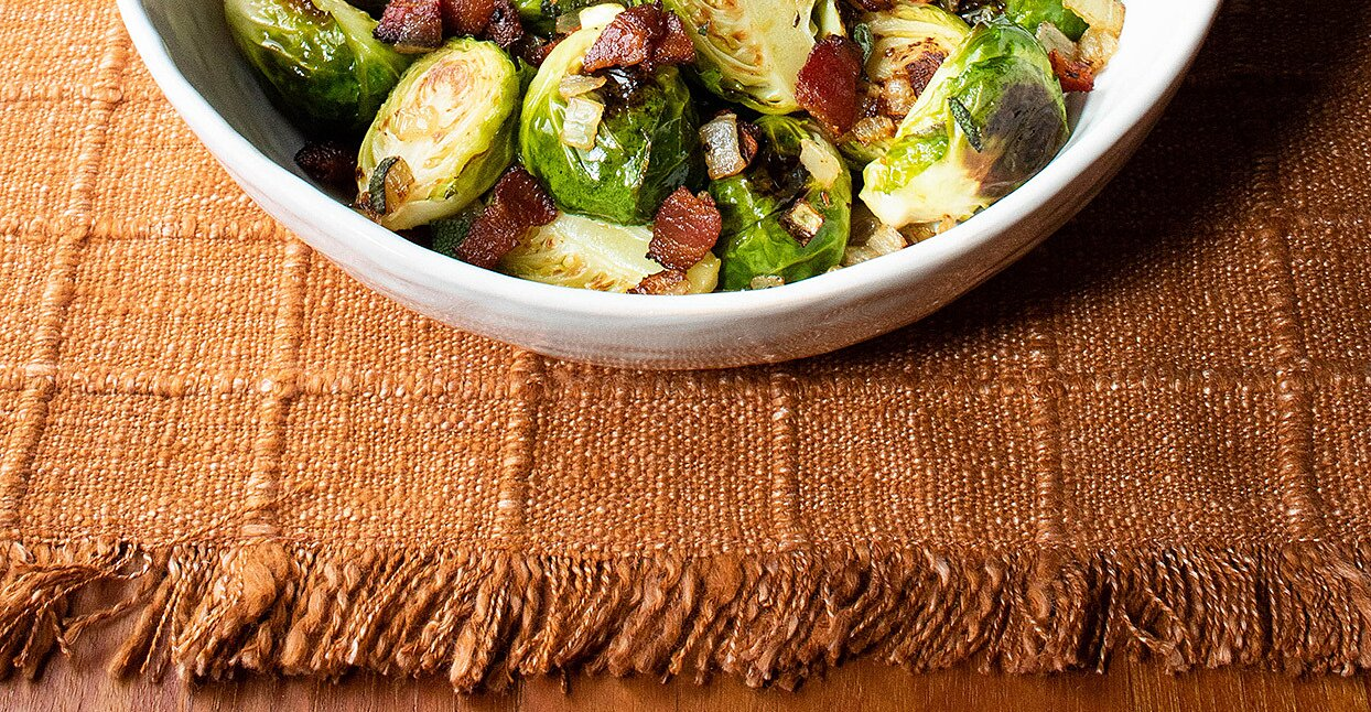 Roasted Brussels Sprouts with Bacon & Onions for Two