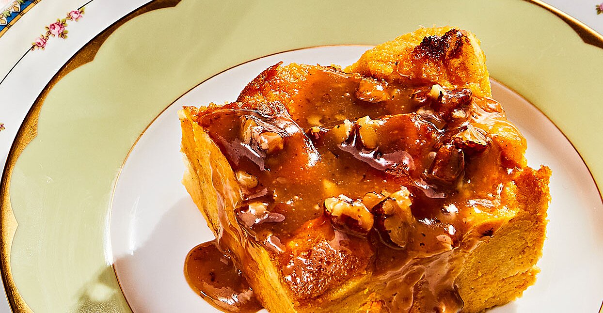 Sweet Potato Bread Pudding with Pecan Praline Sauce