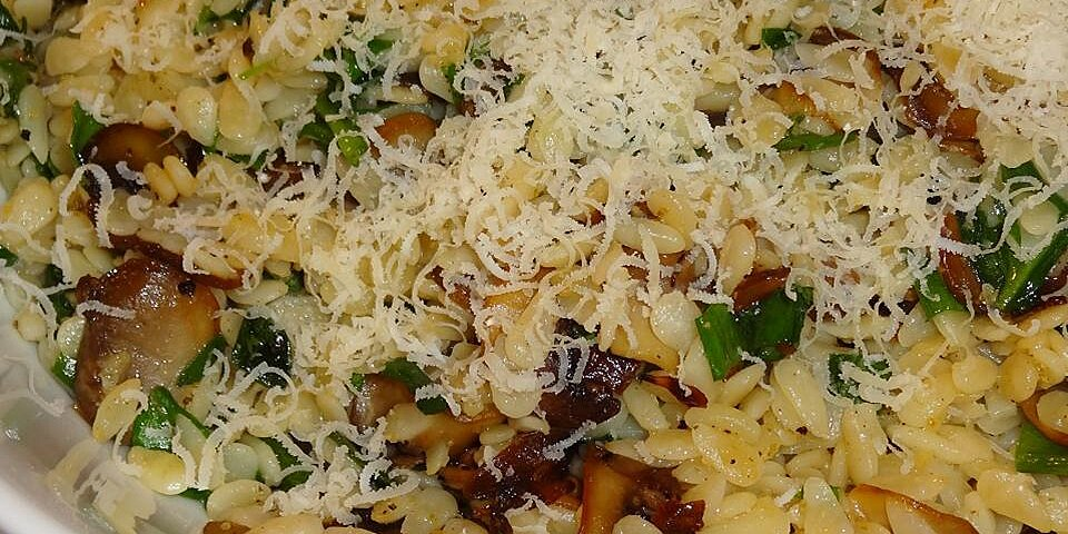 back to orzo with caramelized mushrooms and wilted spinach recipe