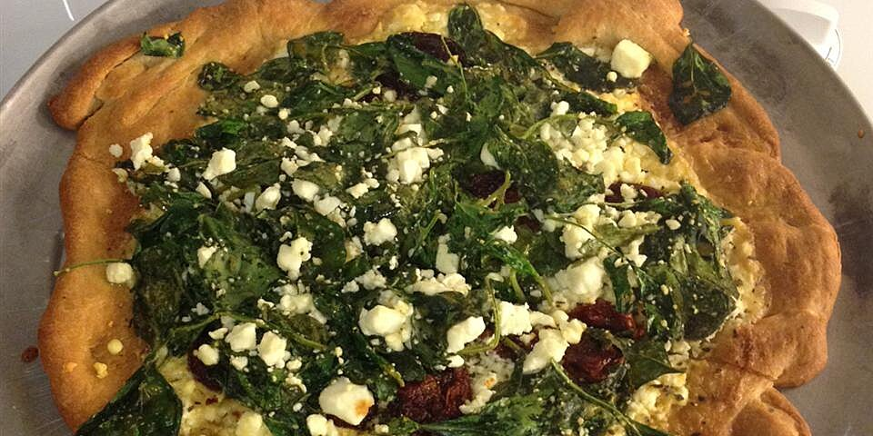 greek pizza with spinach feta and olives recipe