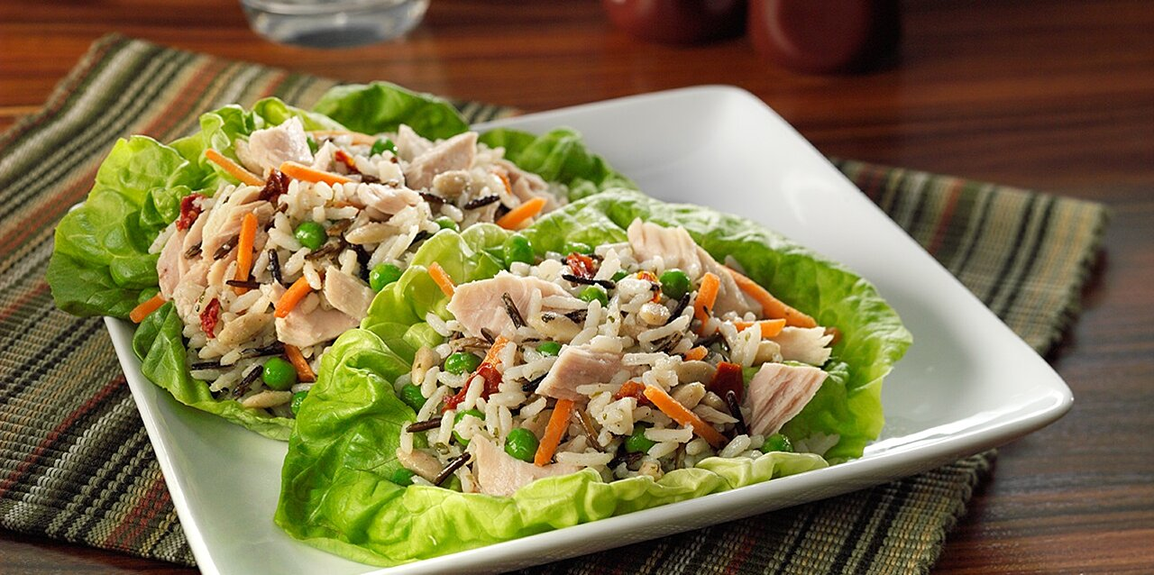 albacore tuna and rice medley lettuce cups